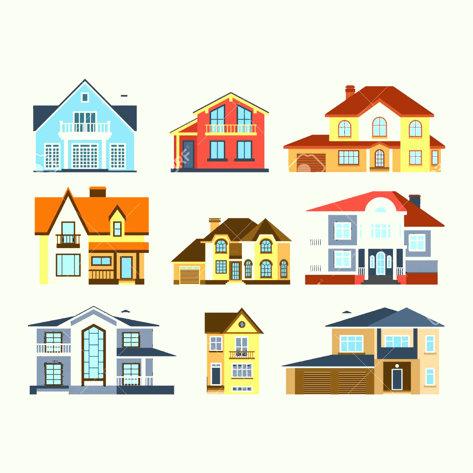 Flat Vector House: Photostock Vector Houses Front View Vector Illustration Houses Flat Style Modern Constructions Vector House Front Faca