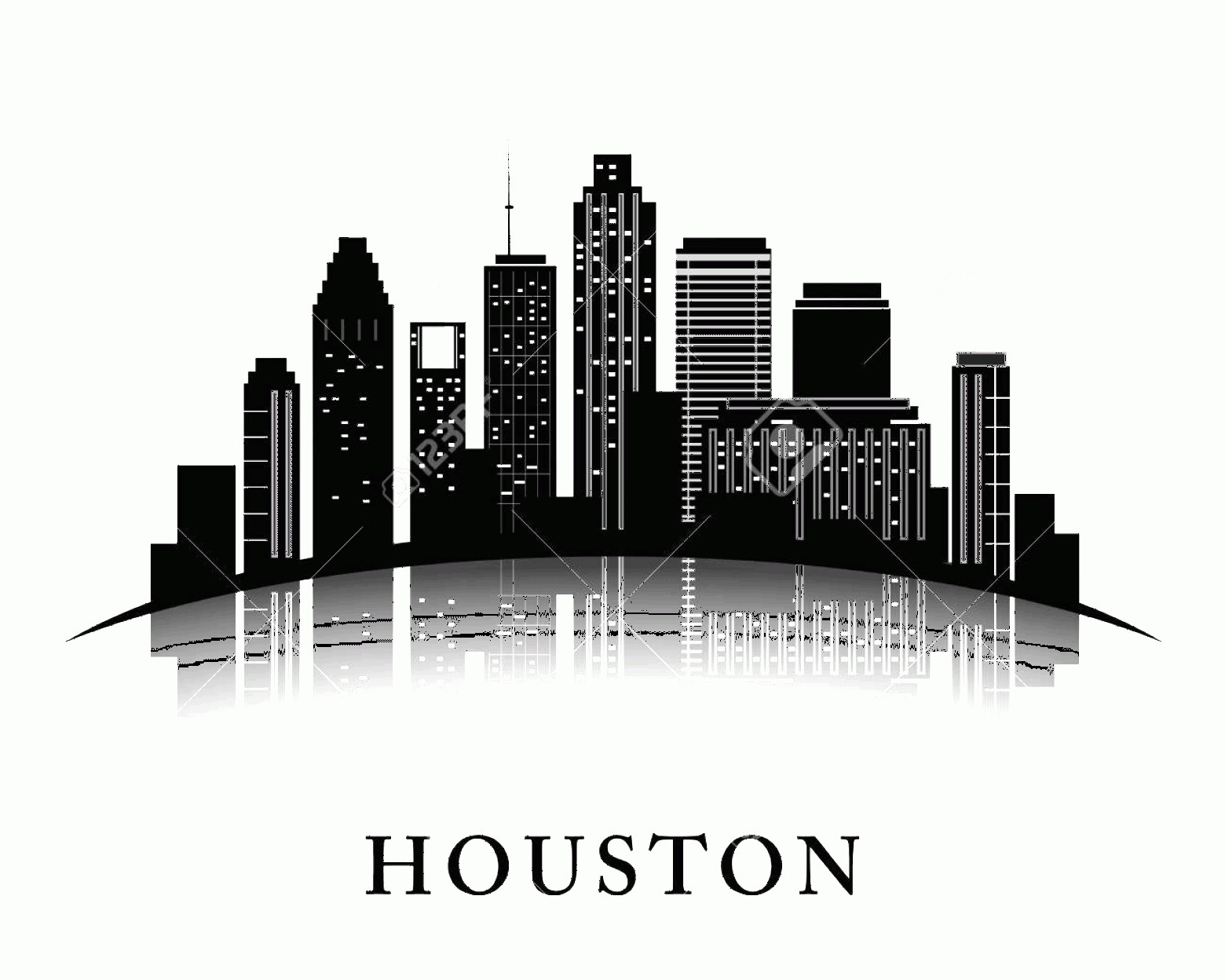 Vector Houston TX: Photostock Vector Houston Texas Skyline City Silhouette