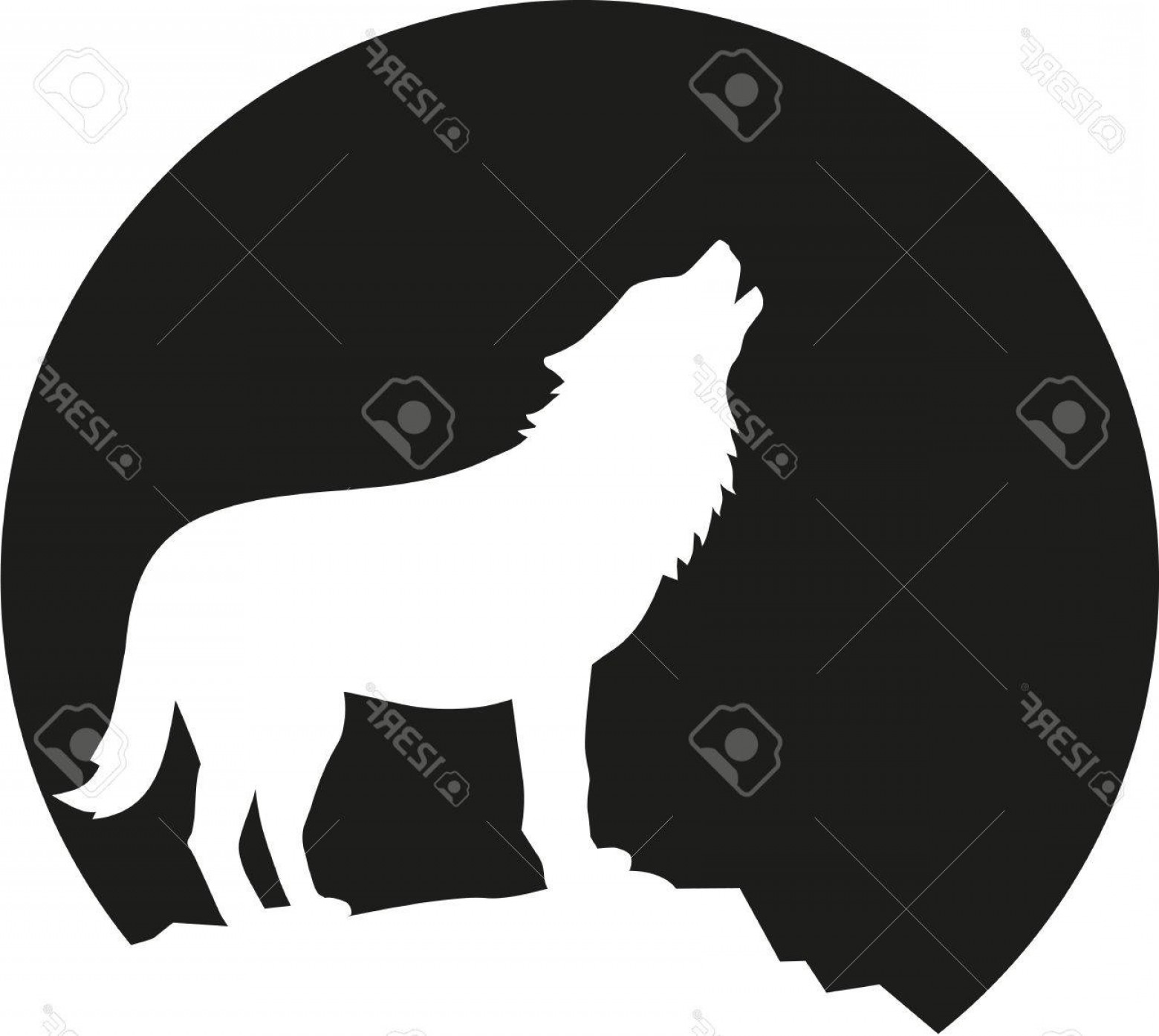 Calm Wolf Vector: Photostock Vector Howling Wolf In Front Of The Moon