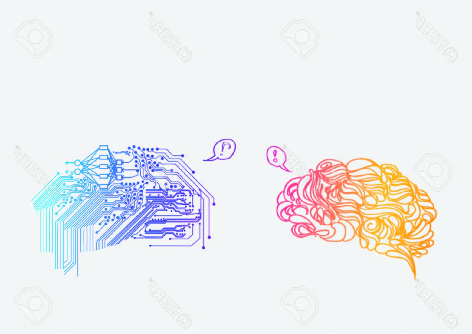 Vector Editors Disadvantages: Photostock Vector Human Brain Versus Cyber Brain Advantages And Disadvantages Of Artificial Intelligence Against The H