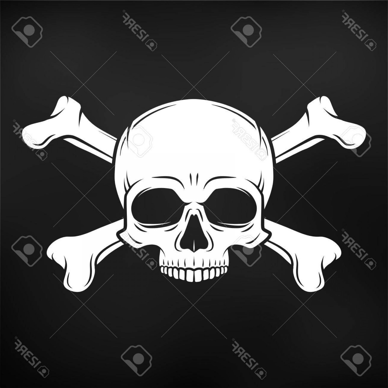Skull Vector T-shirt Illustration: Photostock Vector Human Evil Skull Vector Jolly Roger With Crossbones Logo Template Death T Shirt Design Pirate Insign