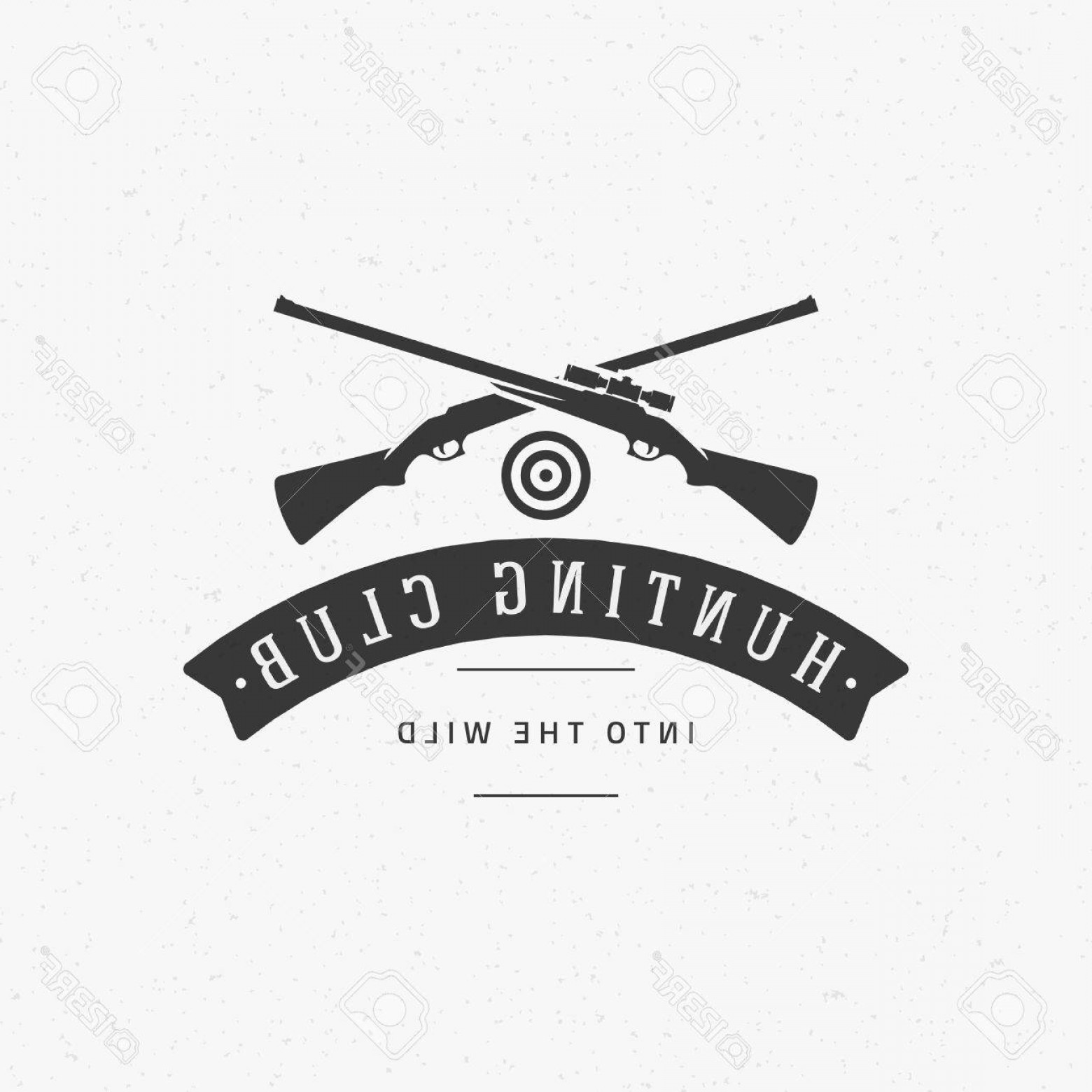 Hunting Rifle Vector Cross: Photostock Vector Hunting Club Vintage Logo Template Emblem Cross Guns And Target Silhouette Label Or Badge For Advert