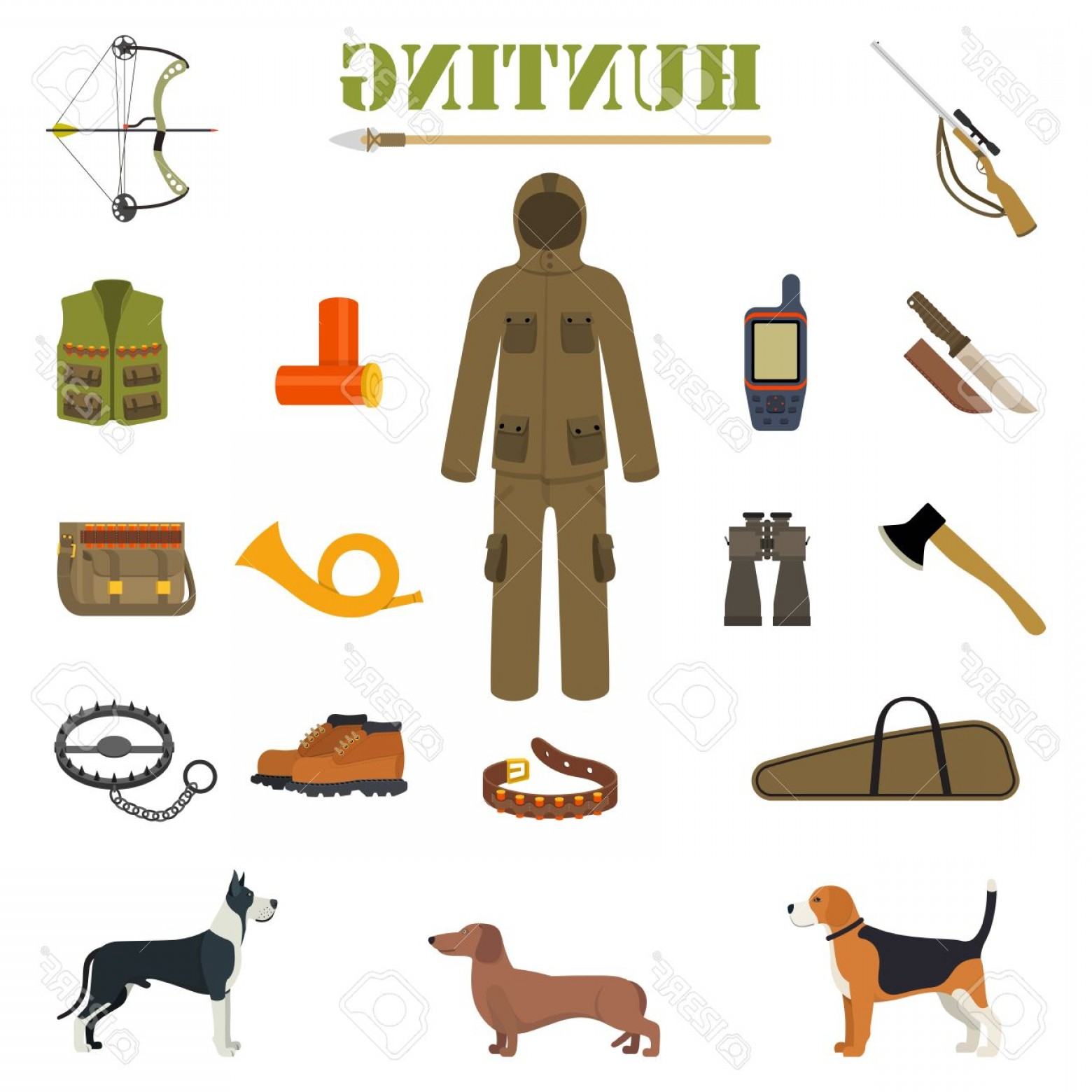 Vector Rifle And Boots: Photostock Vector Hunting Equipment Kit With Rifle Knife Suit Shotgun Boots Patronage Etc Hunting Dogs Vector Illustra