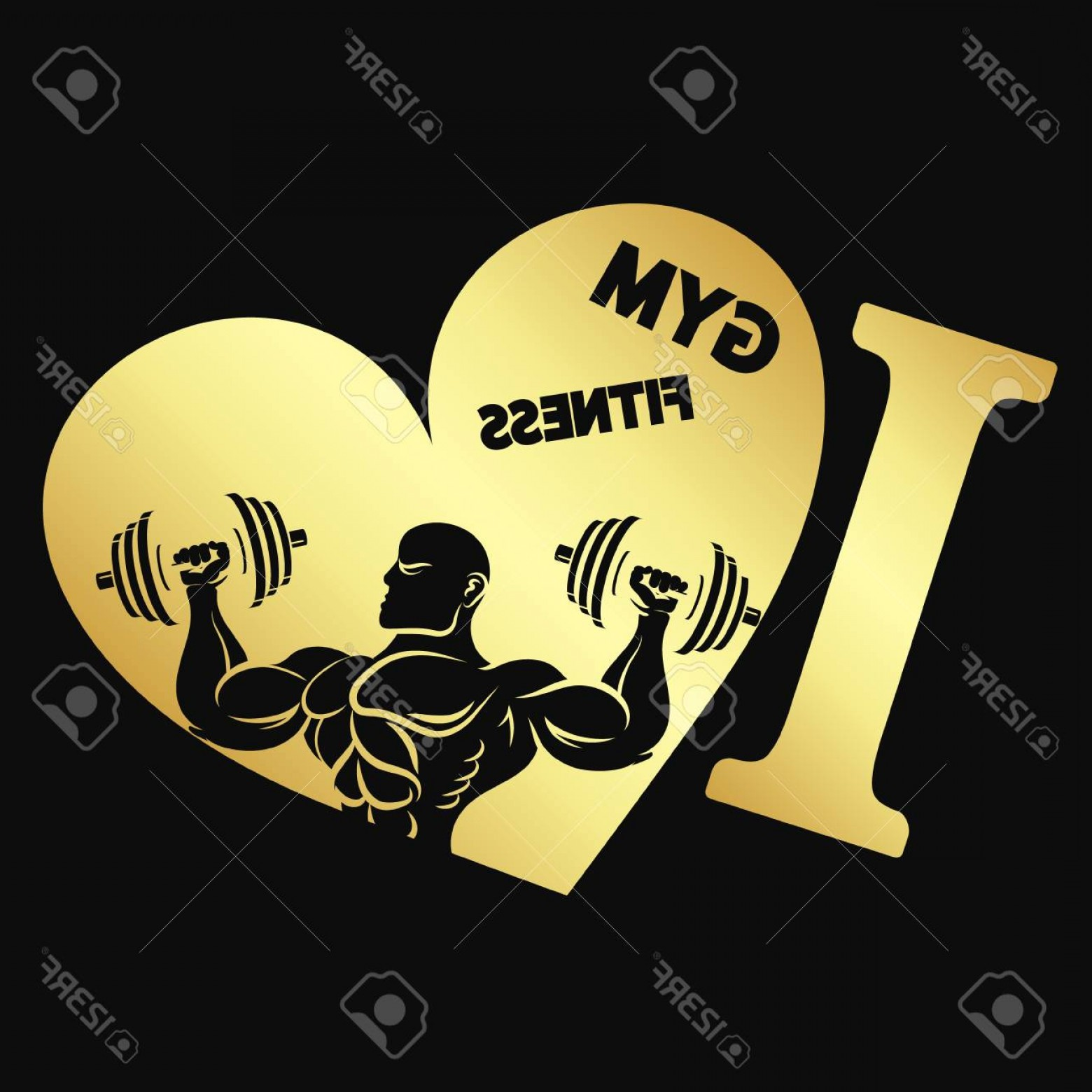 Gold Gym Vector: Photostock Vector I Love The Gym And Fitness Symbol Of Gold Color
