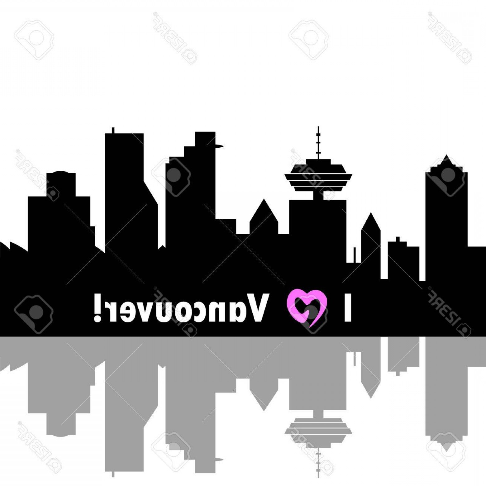 Vancouver Skyline Vector: Photostock Vector I Love Vancouver Canada Skyline Detailed Vector Silhouette On White