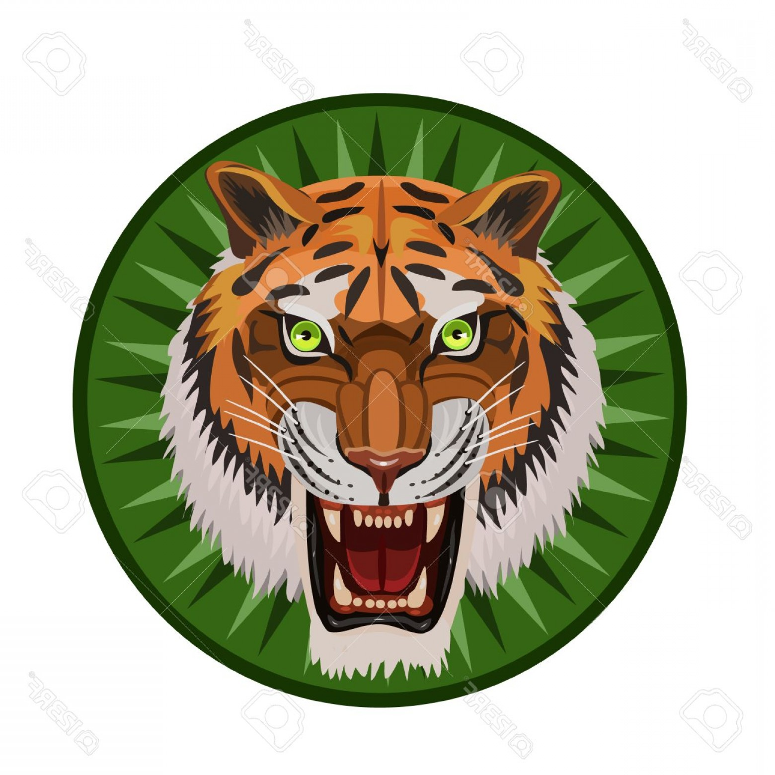 Green Tiger Vector: Photostock Vector Icon Angry Tiger With An Open Mouth Visible Teeth Whiskers Green Eyes And An Icon For The Site