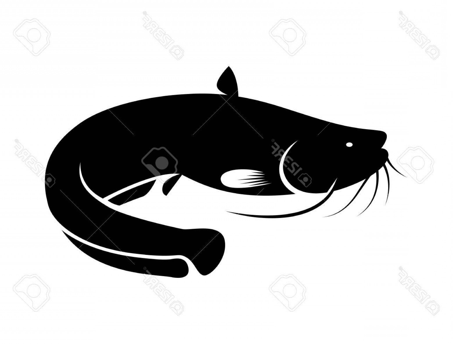 Catfish Vector Logo: Photostock Vector Icon Black Catfish Vector