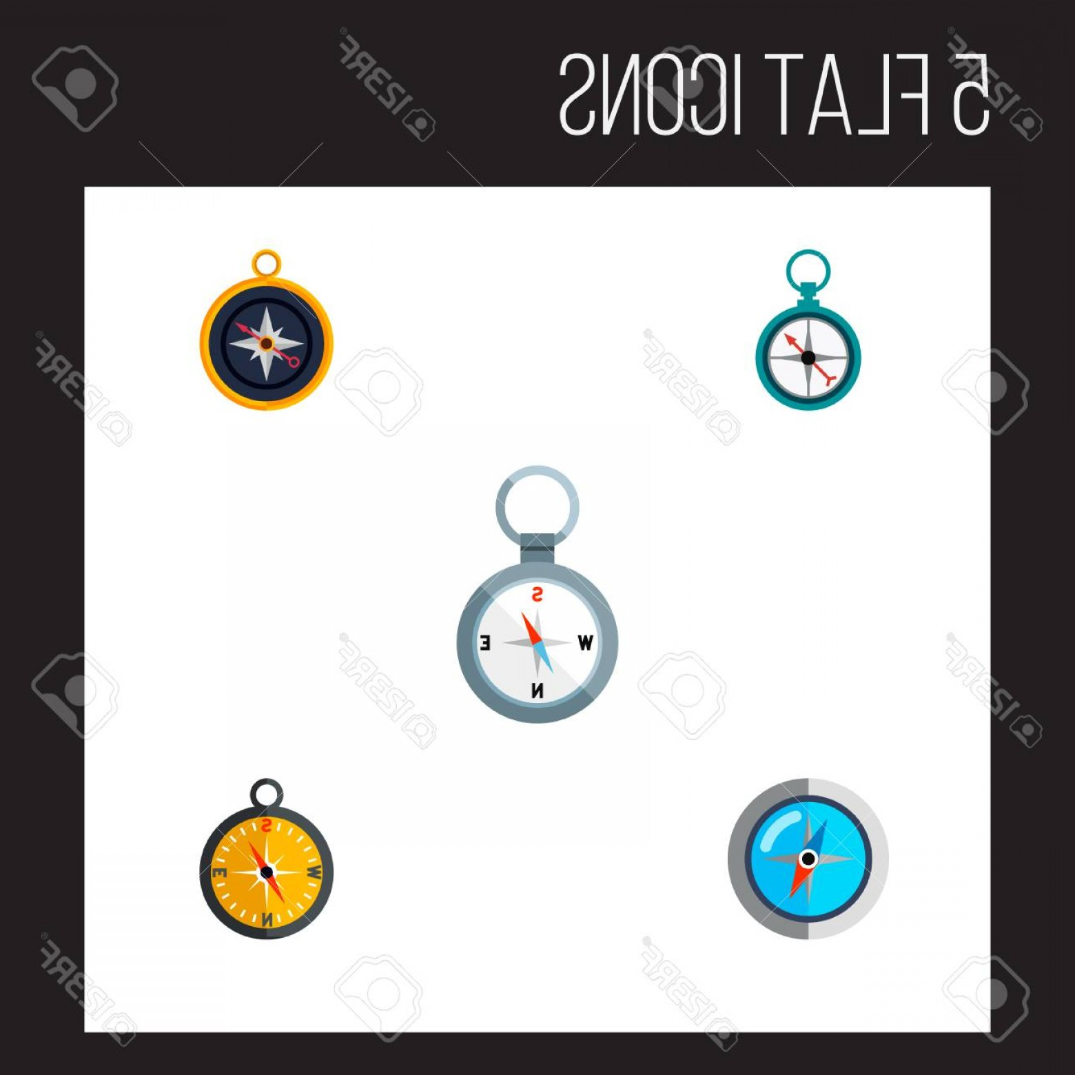 Measurement And Direction Vector: Photostock Vector Icon Flat Direction Set Of Compass Orientation Magnet Navigator And Other Vector Objects Also Includ
