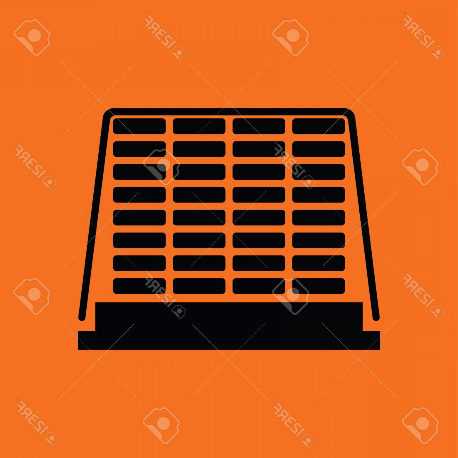 Vector Black Pallet: Photostock Vector Icon Of Construction Pallet Orange Background With Black Vector Illustration
