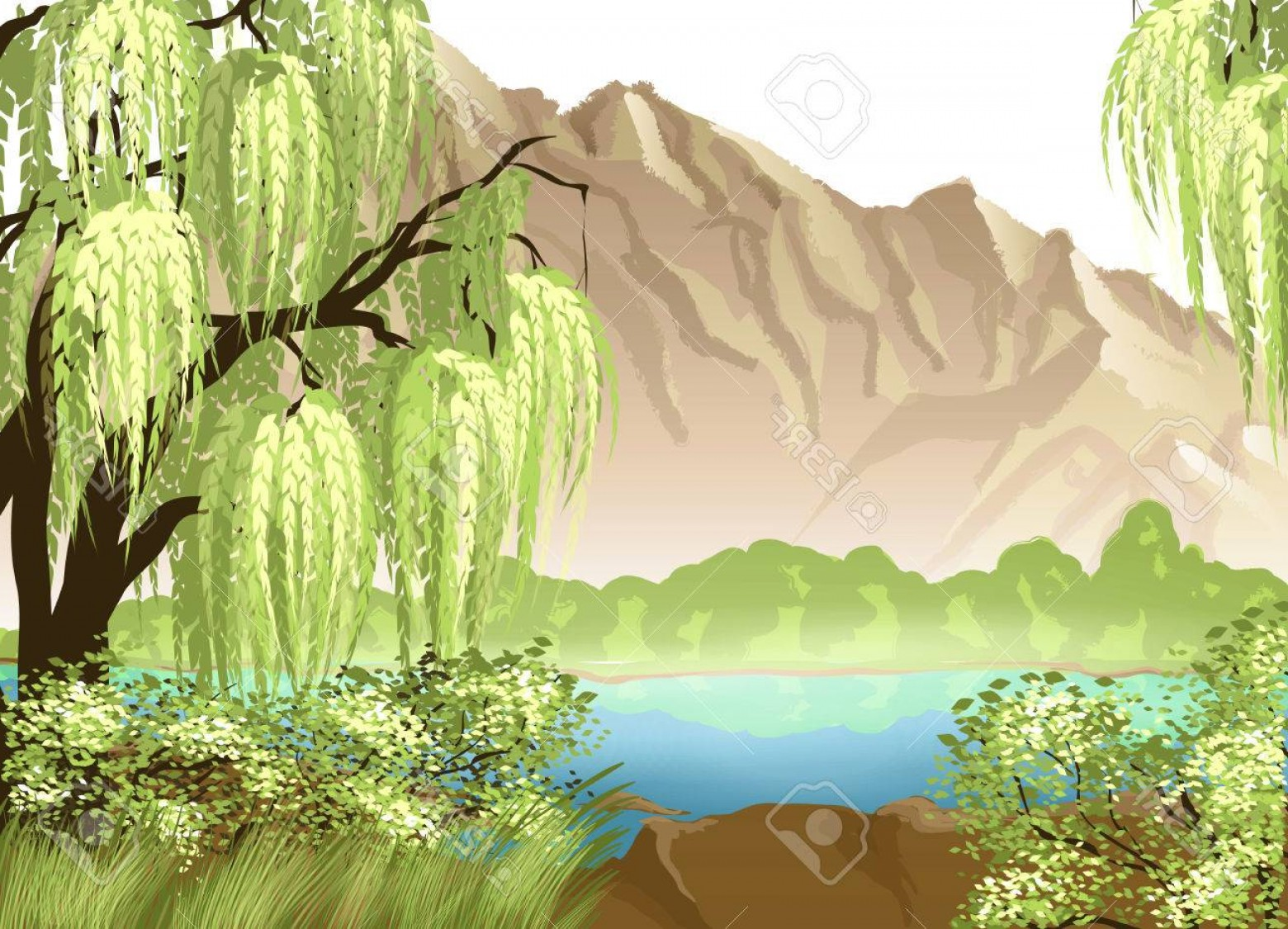 Vector Natural Willow: Photostock Vector Idyllic Landscape With Willow And Mountain