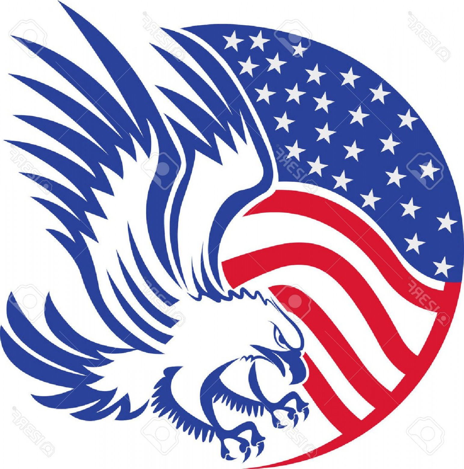 Patriotic Bald Eagle Vector: Photostock Vector Illustration Art Of A American Bald Eagle With Isolated Background