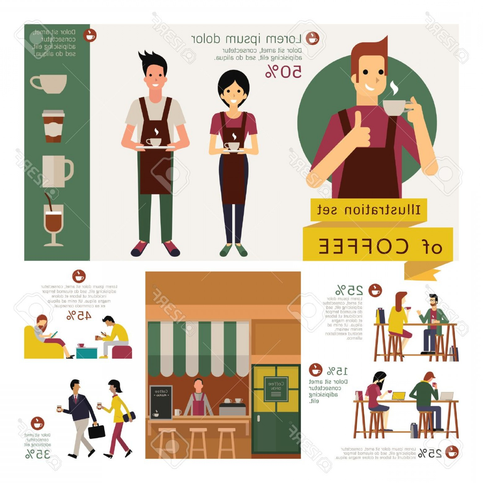 Vector Waiter Coffee: Photostock Vector Illustration Element Of Coffee Concept Exterior Store Waiter And Waitress Coffee Table And Chair Var