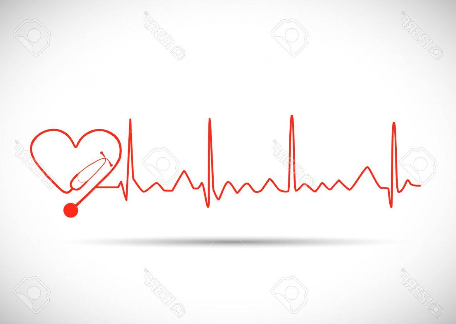 Heart Stethoscope With EKG Lines Vector: Photostock Vector Illustration Of A Heart Monitor Wave With Stethoscope Isolated On A White Background