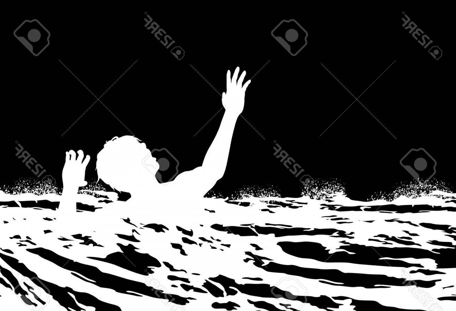 Man Drowning Vector: Photostock Vector Illustration Of A Man Drowning In Rough Water