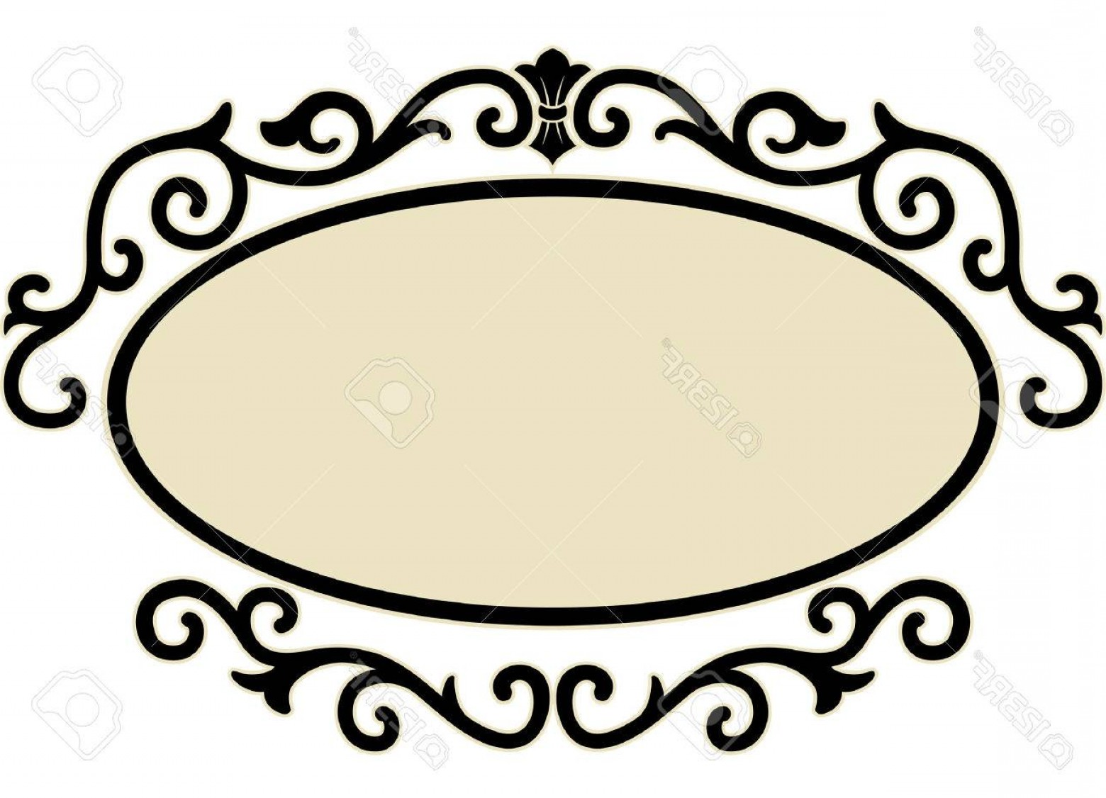 Filigree Oval Frame Vector: Photostock Vector Illustration Of An Oval Frame Surrounded By Decorative Swirls