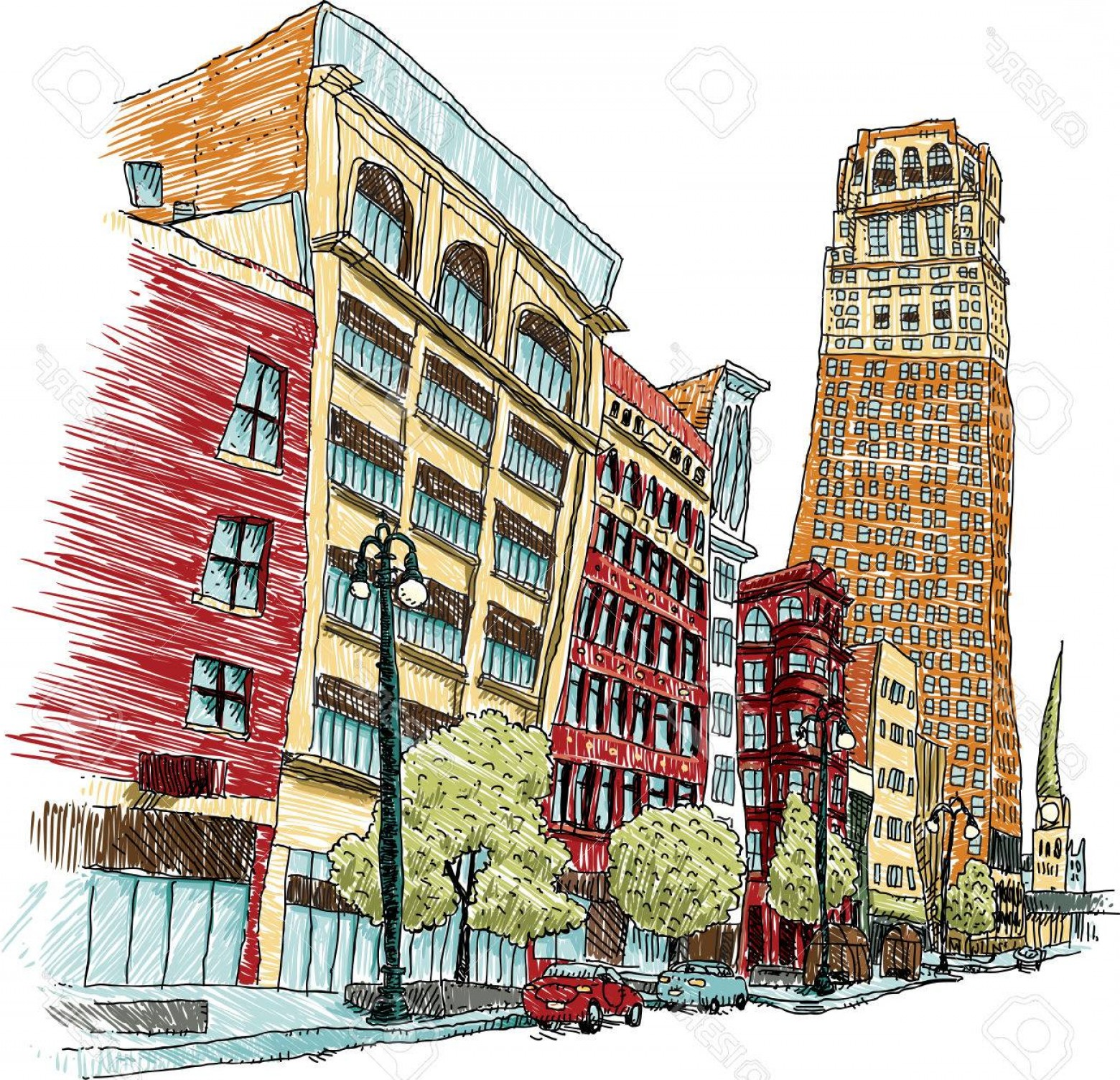 Vector Building Detroit: Photostock Vector Illustration Of Buildings On Woodward Avenue In Downtown Detroit Michigan Usa