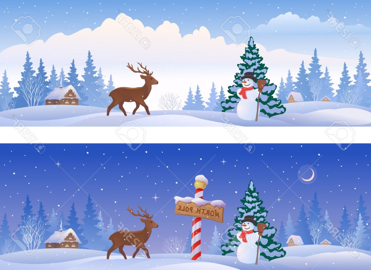 North Pole Landscape Vector: Photostock Vector Illustration Of Christmas Landscapes With A North Pole Sign A Snowman And A Deer Panoramic Banners
