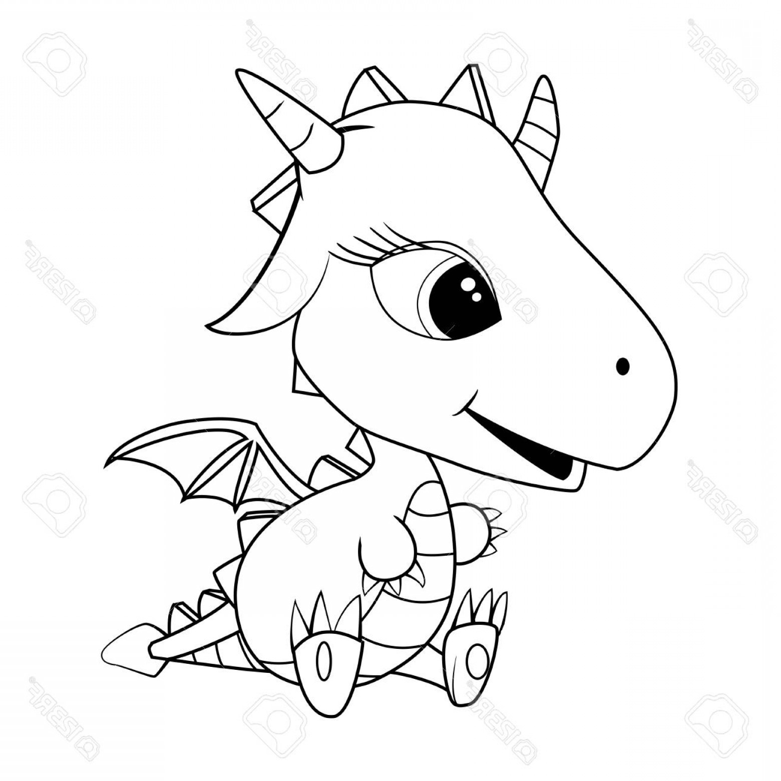 Baby Dragon Silhouette Vector: Photostock Vector Illustration Of Cute Cartoon Baby Dragon Vector Eps