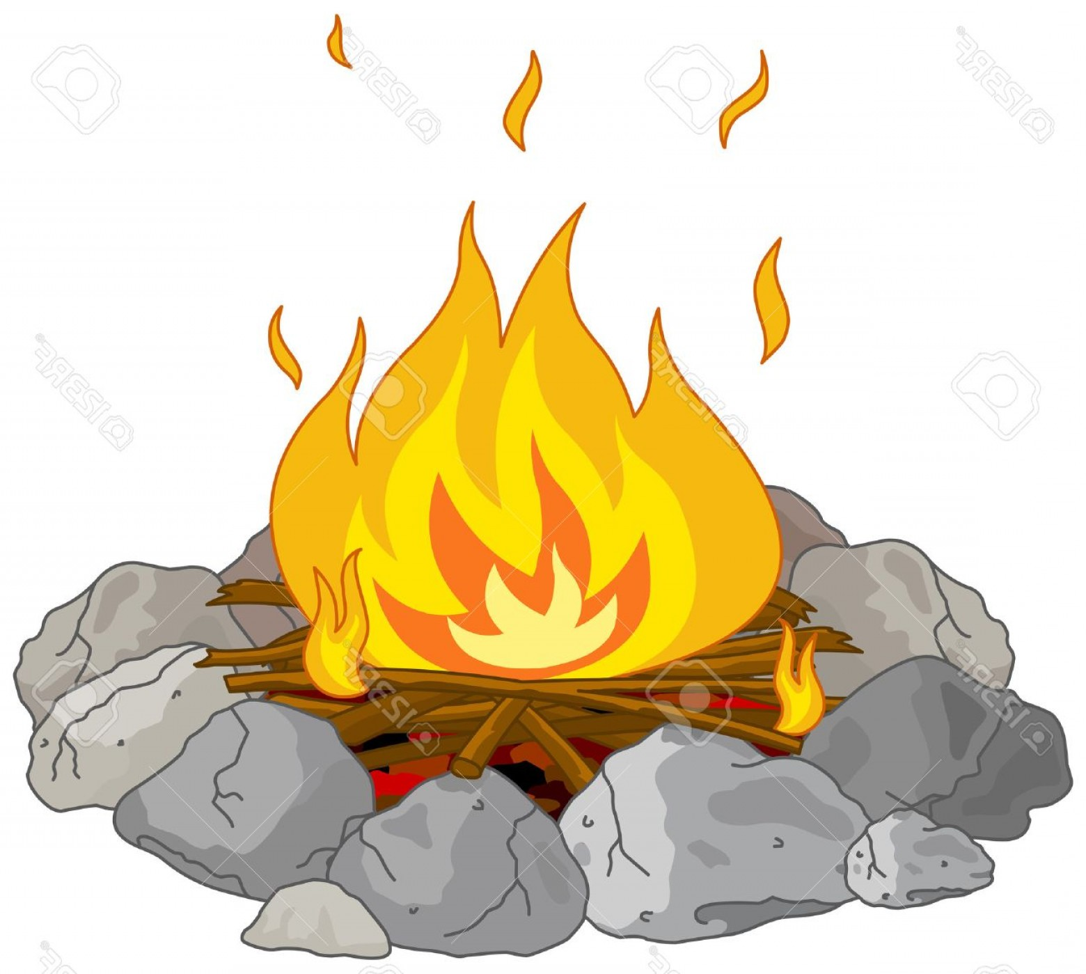 Fire Clip Art Vector: Photostock Vector Illustration Of Flame Into Fire Pit