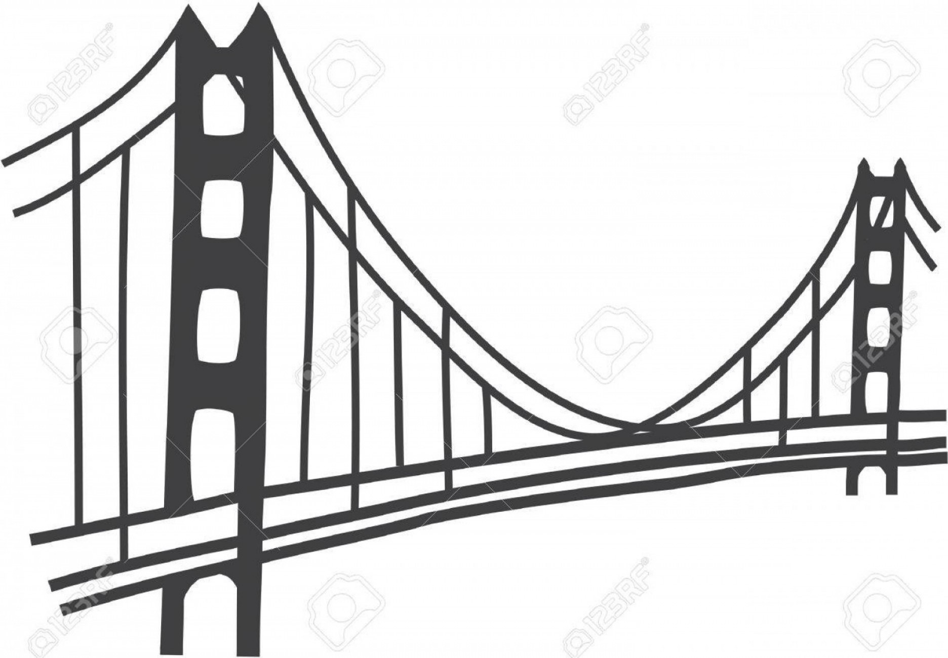 Suspension Bridge Vector: Photostock Vector Illustration Of Golden Gate Bridge San Francisco
