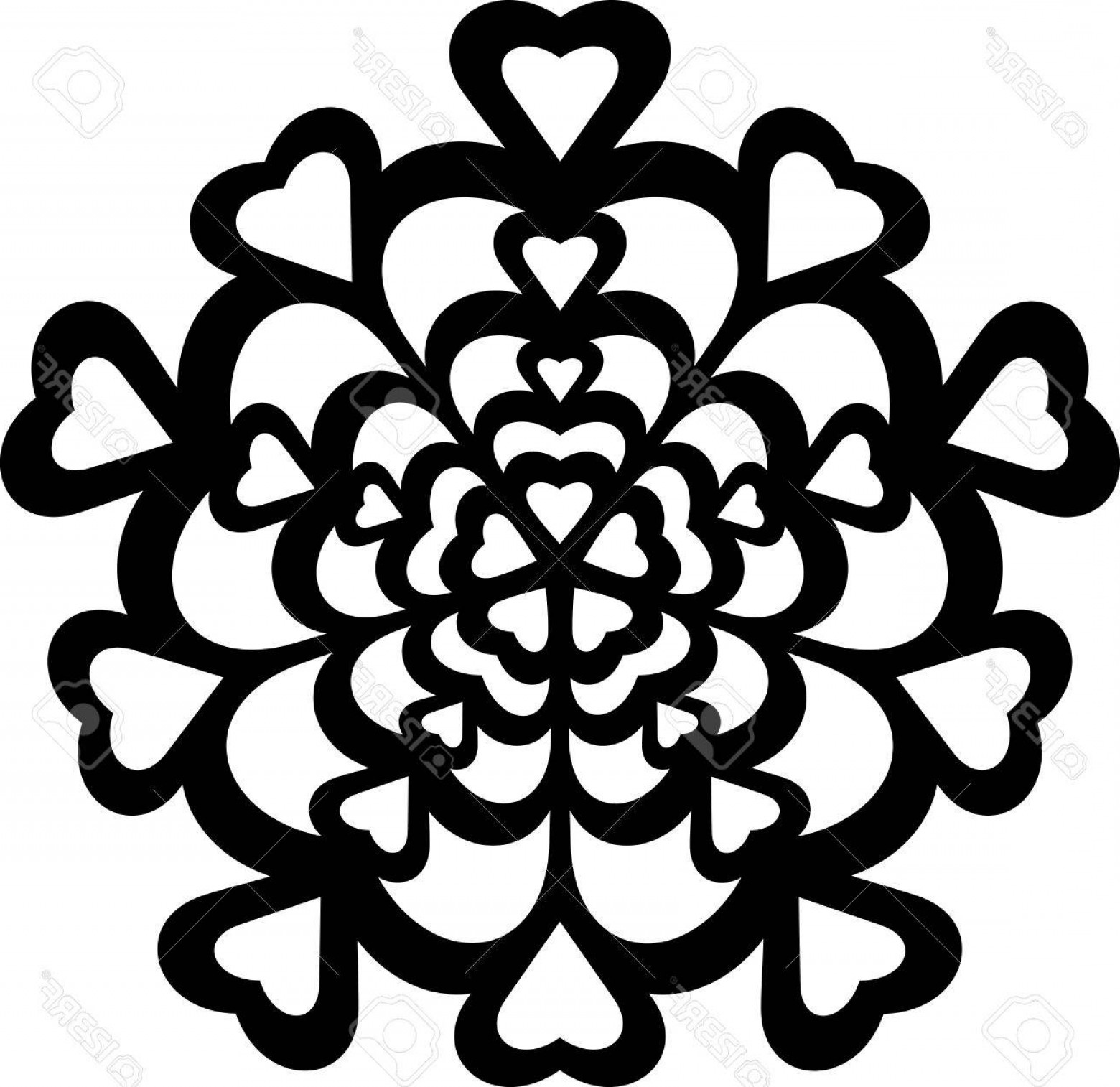 Vector CNC Designs: Photostock Vector Illustration Of Great Ornaments Hearts Silhouette Ready For Cnc And Prints
