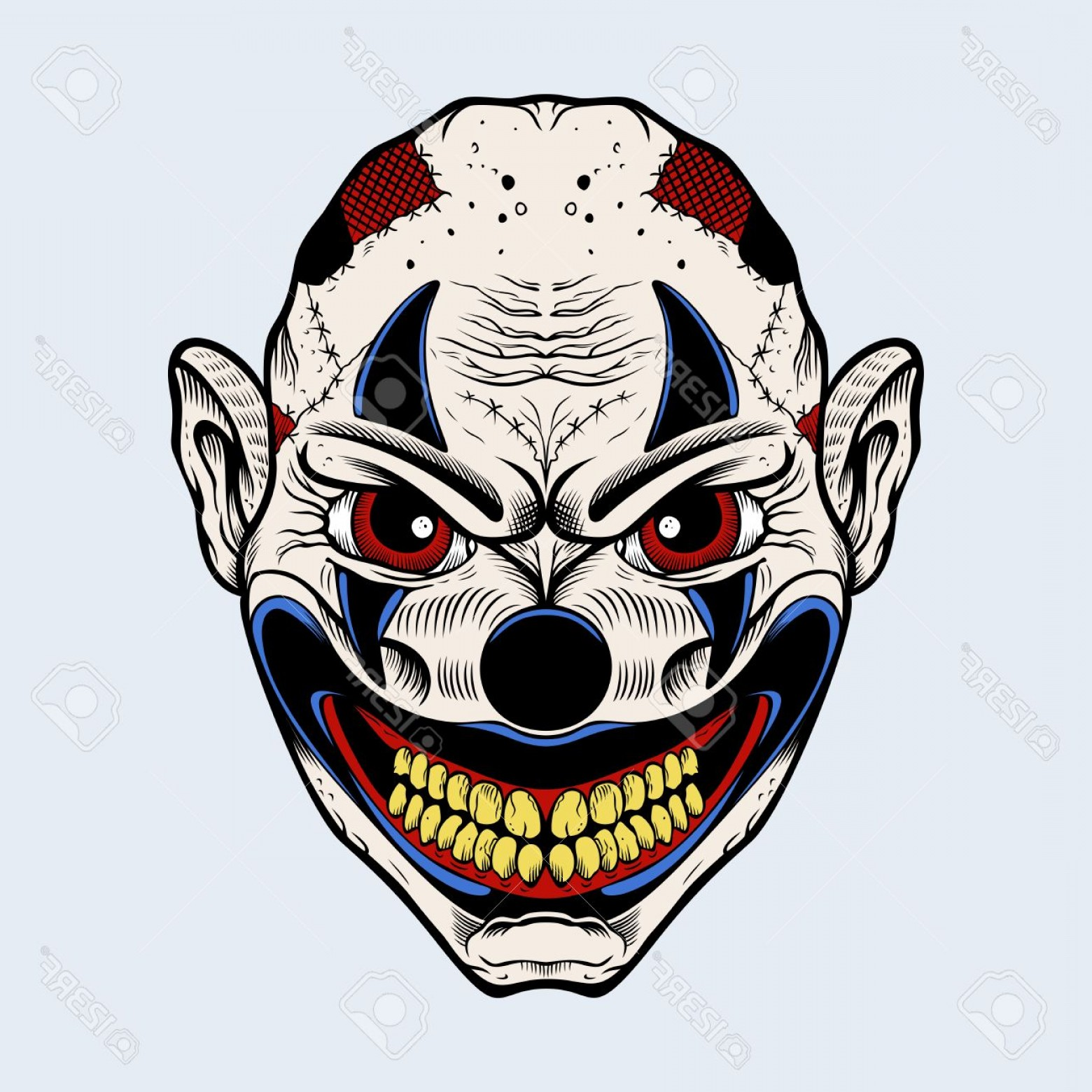 Creepy Clown Vector: Photostock Vector Illustration Of Scary Clown With Red Eyes