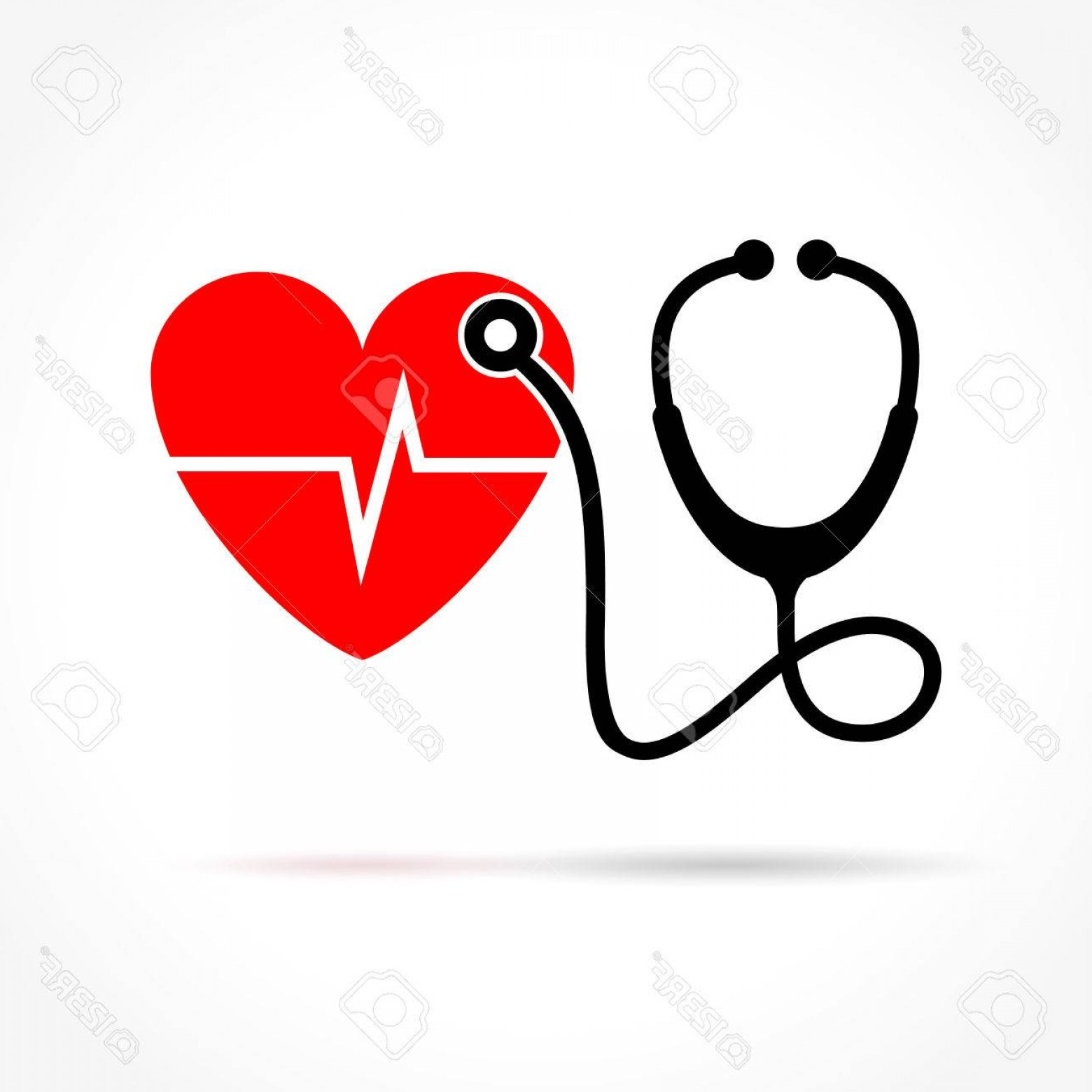 Stethoscope With Heart Vector Art: Photostock Vector Illustration Of Stethoscope And Heart