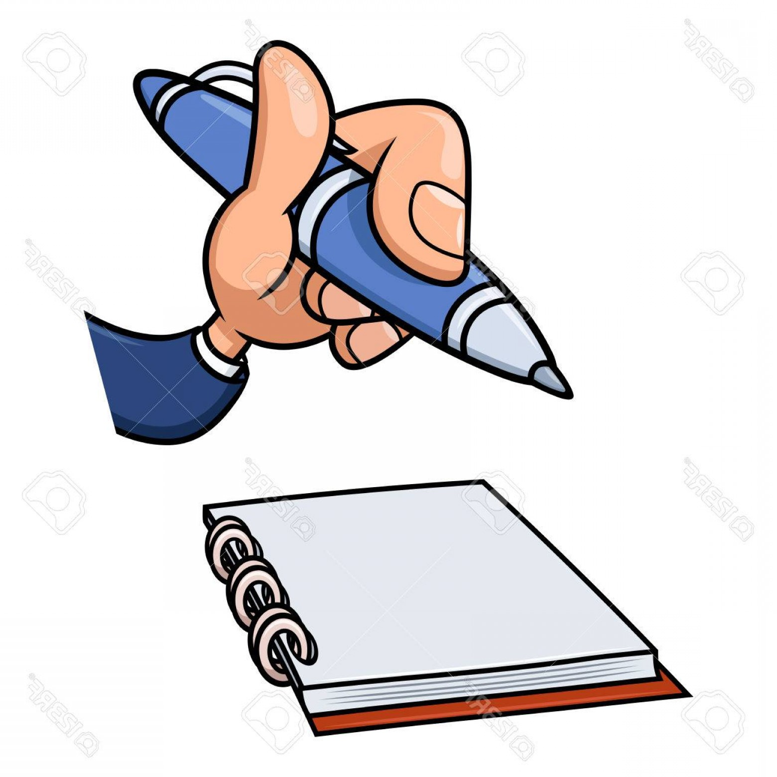 Notepad Writing Hand Vector: Photostock Vector Illustration Of The Cartoon Hand Holding Blue Pen Over Notepad And Ready To Start Writing White Back