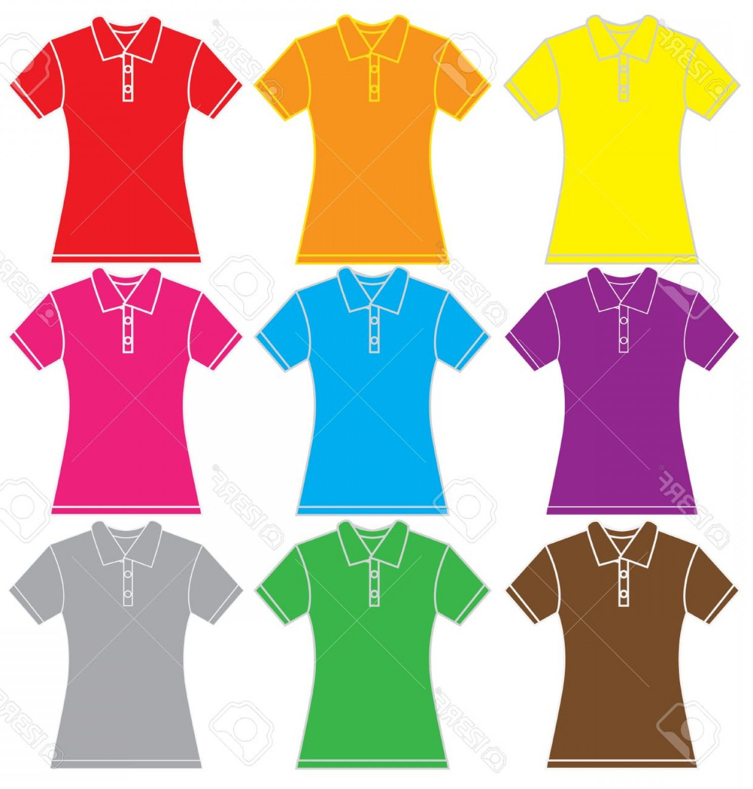 Female Polo Shirt Vector Template: Photostock Vector Illustration Of Women Polo Shirt Template In Many Color Isolated On White