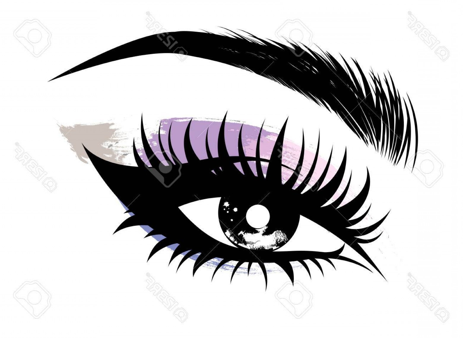 Vector Illustration Eyes Makeup: Photostock Vector Illustration Vector Of Beautiful Eye Makeup And Brow On White Background