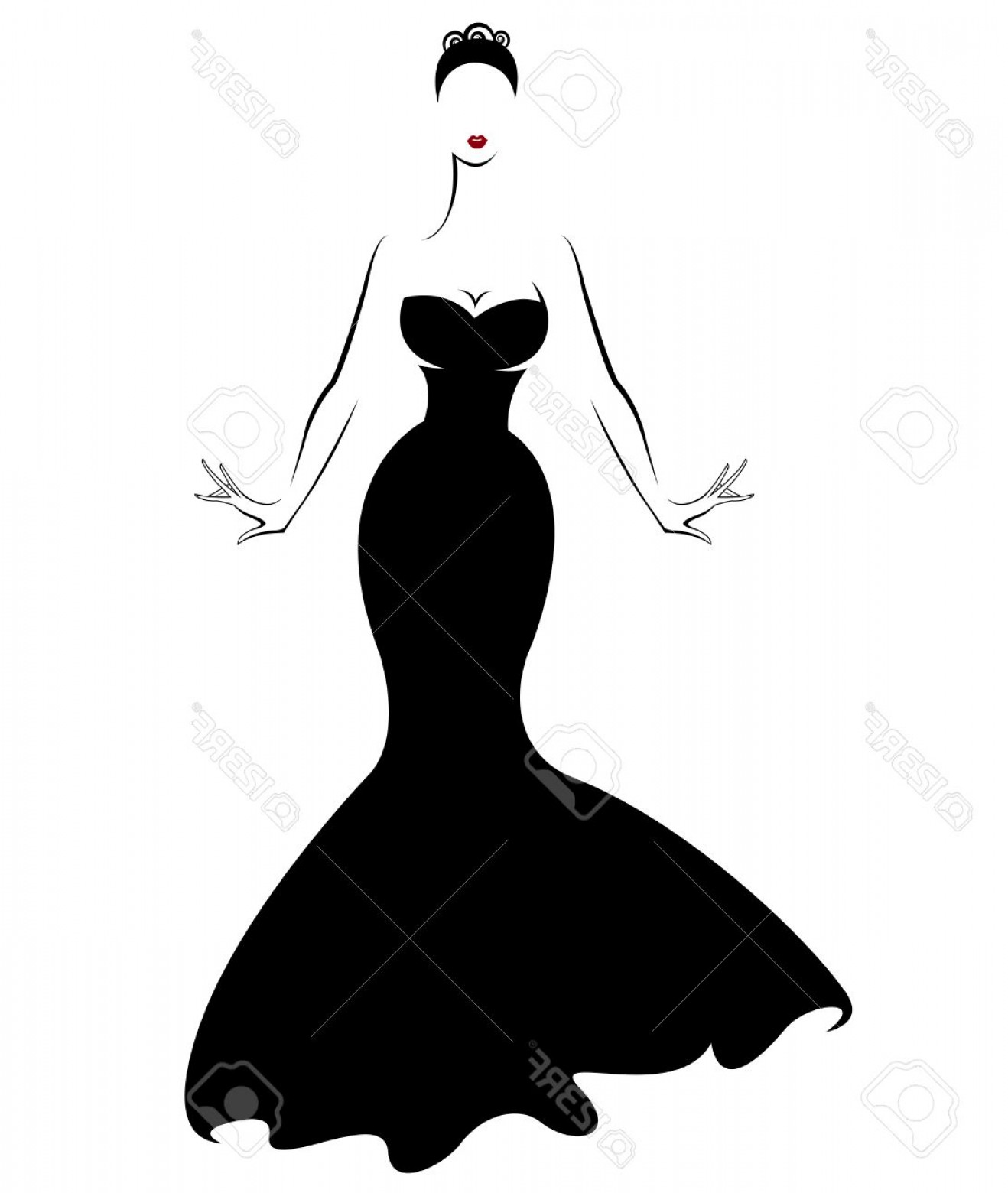 Vector Images Of Black And White Dresses: Photostock Vector Illustration Vector Of Women Silhouette Icon Women Body In Black Dress On White Background