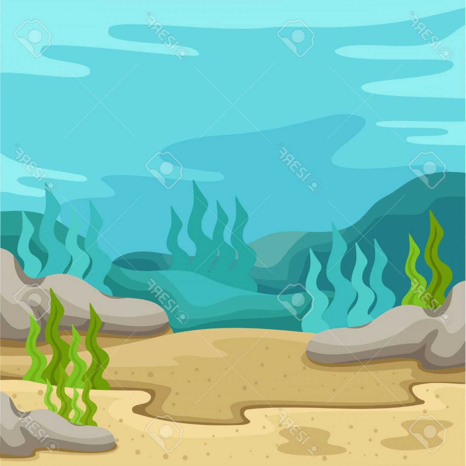 Underwater Sea Vector Art: Photostock Vector Illustrator Of Background Underwater On The Sea Two