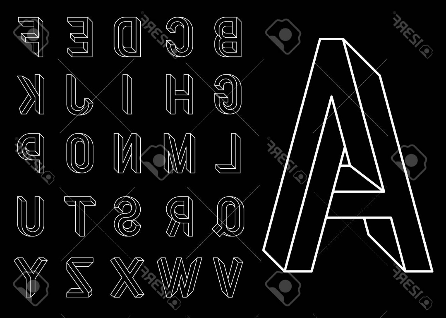 EPS Vector Letters: Photostock Vector Impossible Geometry Letters Set Of Vector Letters Constructed On The Basis Of The Isometric View Low