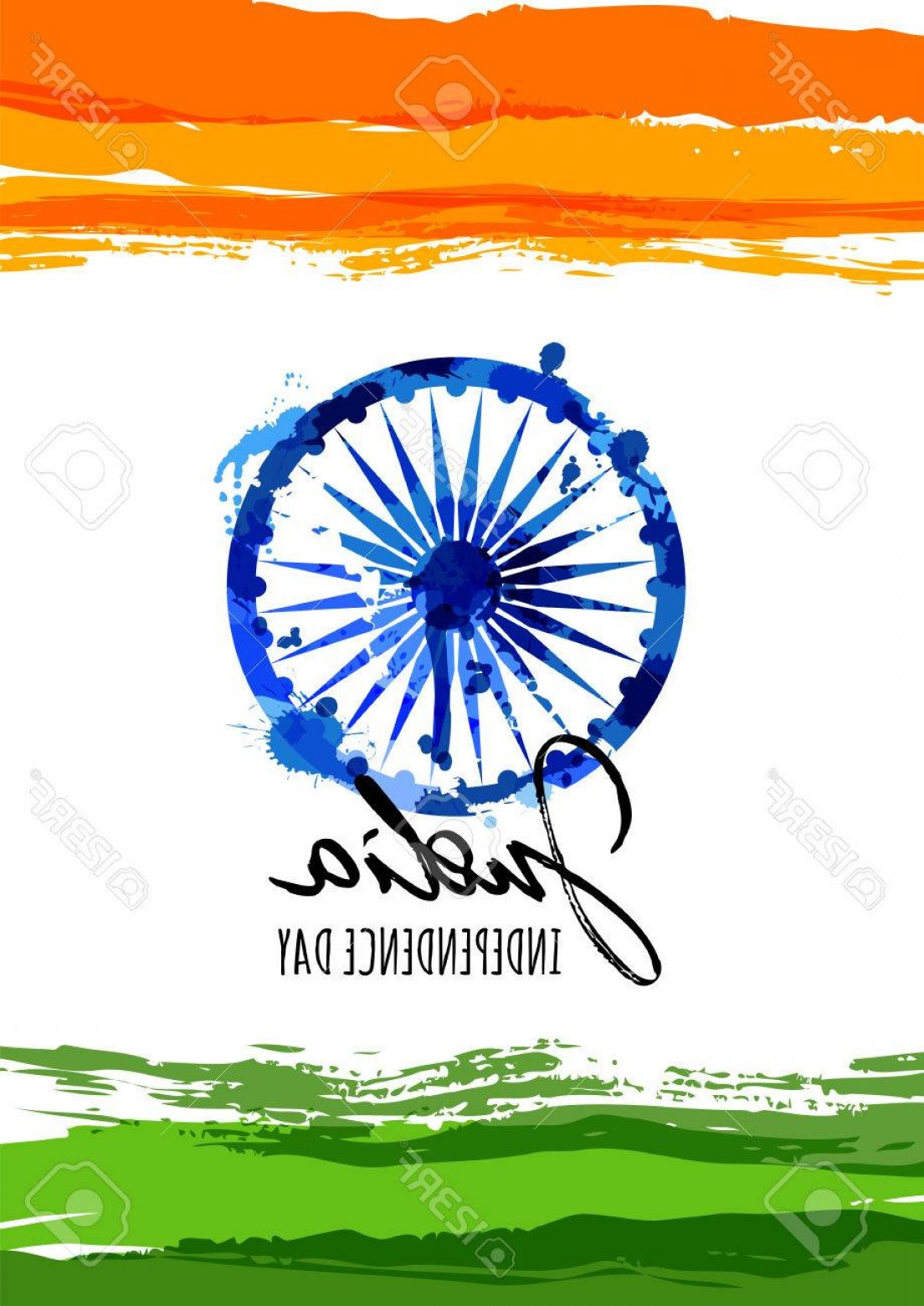 India Flag Vector: Photostock Vector India Flag Vector Illustration With Hand Drawn Calligraphy Lettering India Independence Day Watercol