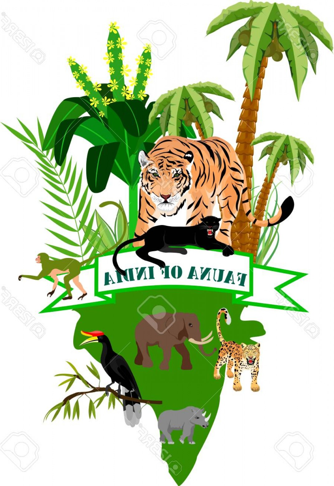 Green Tiger Vector: Photostock Vector India S Nature Concept Illustration Tiger And Other Animals Symbolizing Wildlife Of India Vector