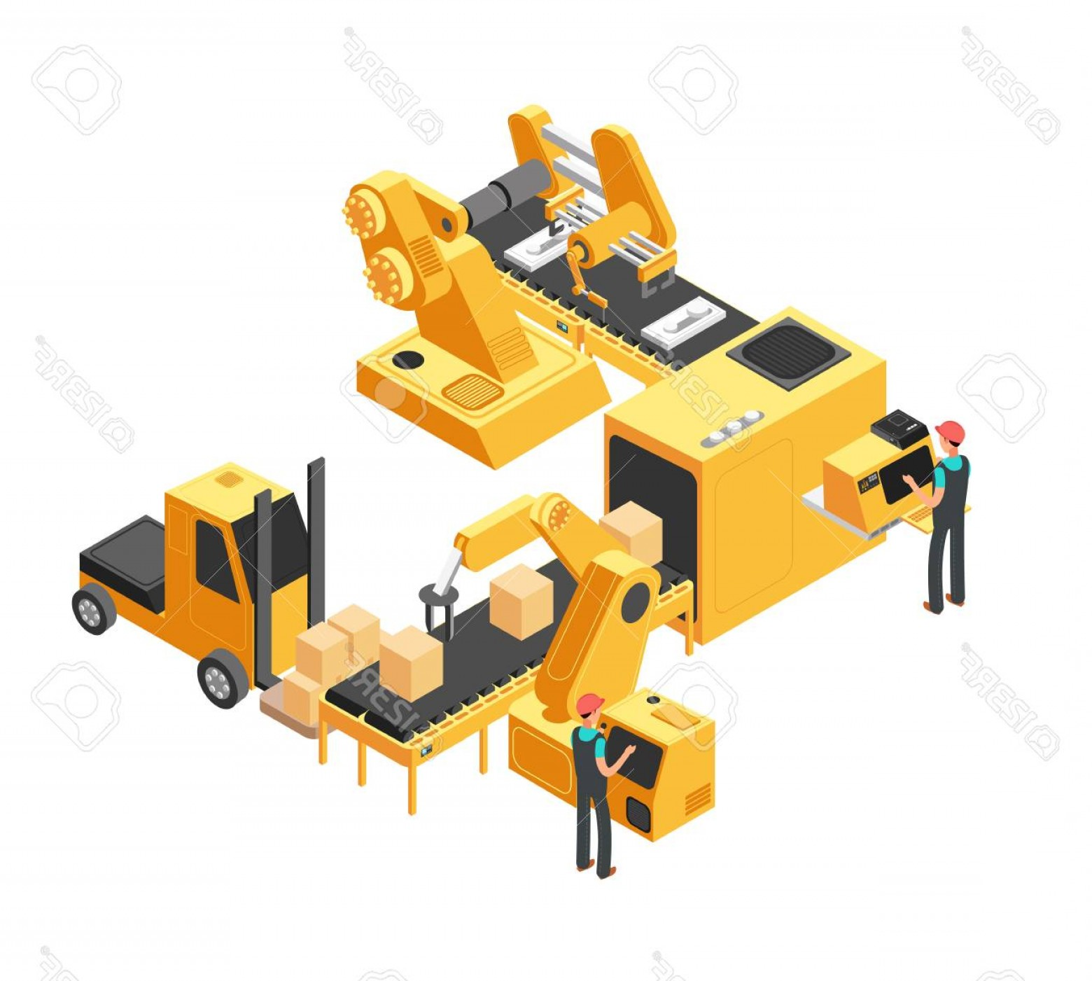 Vector Manufacturing Machine: Photostock Vector Industrial Manufacturing Conveyor Line With Packaging Equipment And Factory Workers D Isometric Vec