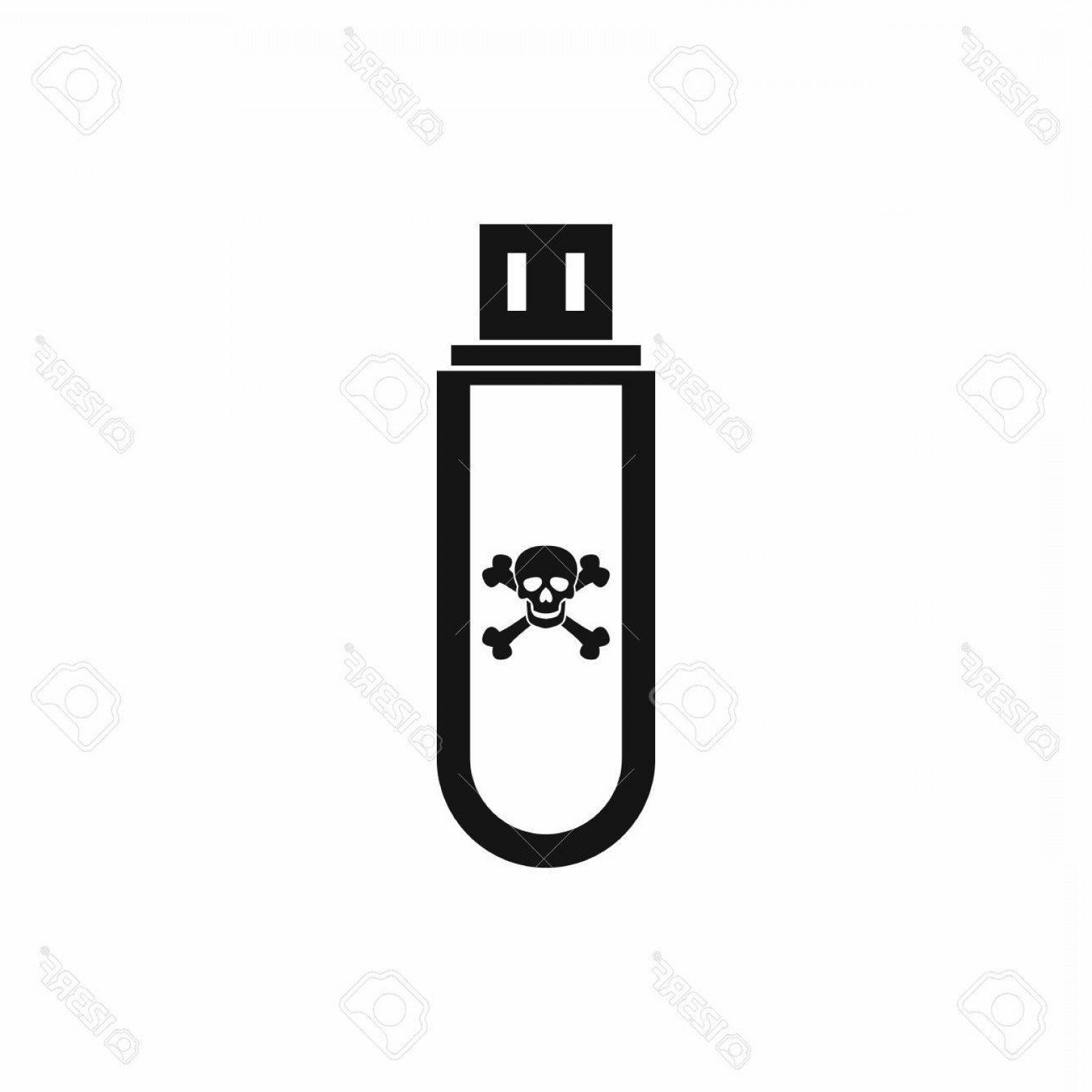 USB Icon Vector: Photostock Vector Infected Usb Flash Drive Icon In Simple Style Isolated On White Background
