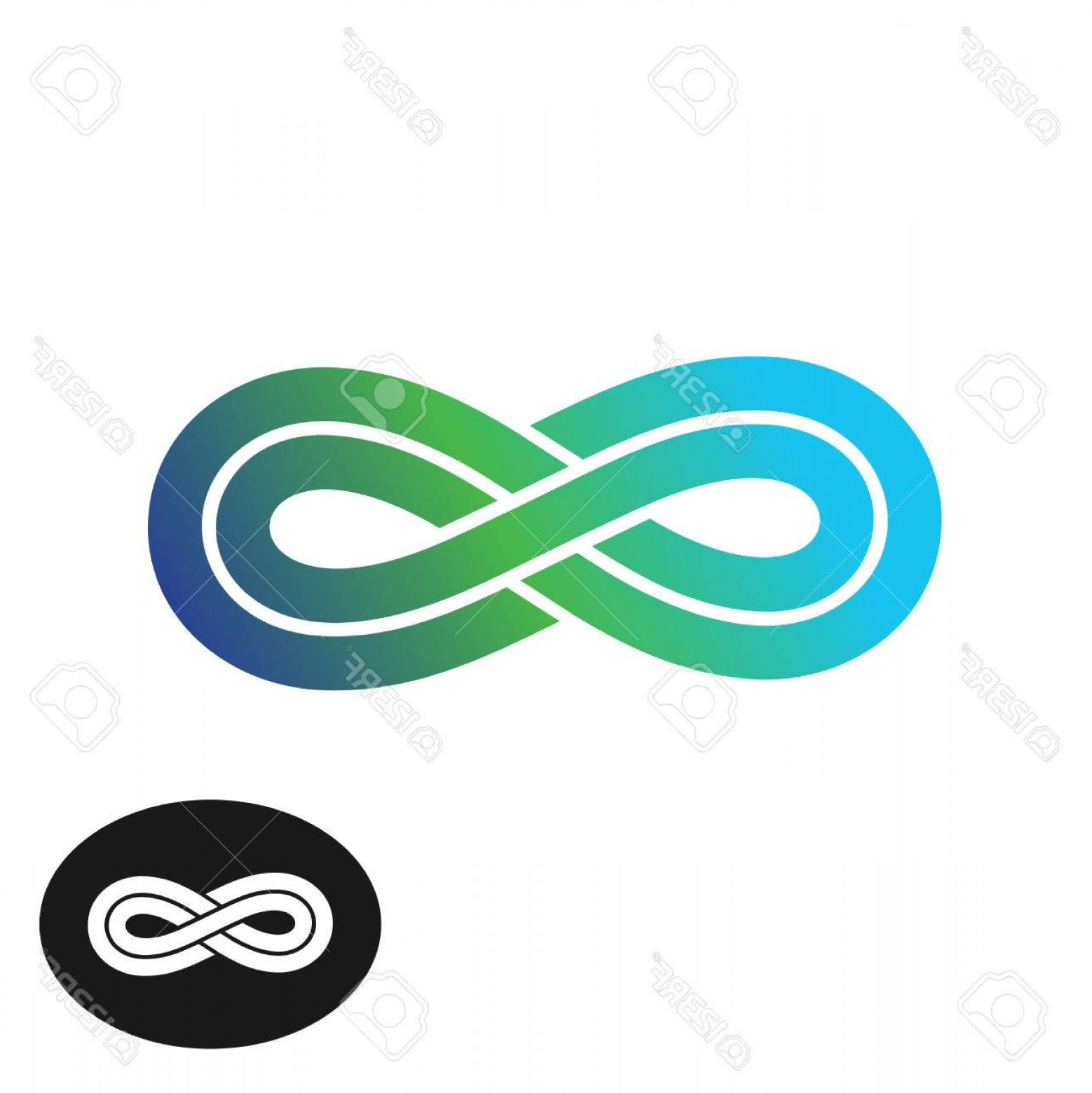 When Two Vectors Are Parallel: Photostock Vector Infinity Knot With Two Parallel Lines Logo Gradient Blue And Green Colors