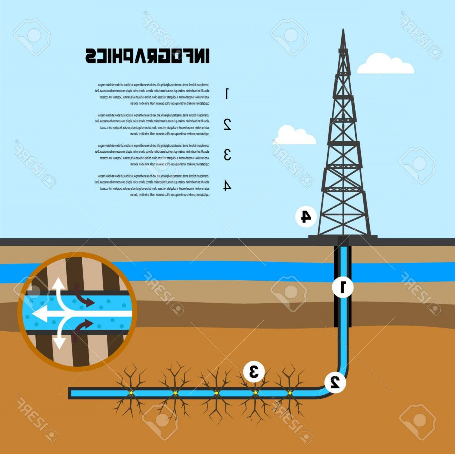 Oilfield Vector Crosses: Photostock Vector Infographics Scheme Of Mining Shale Illustration