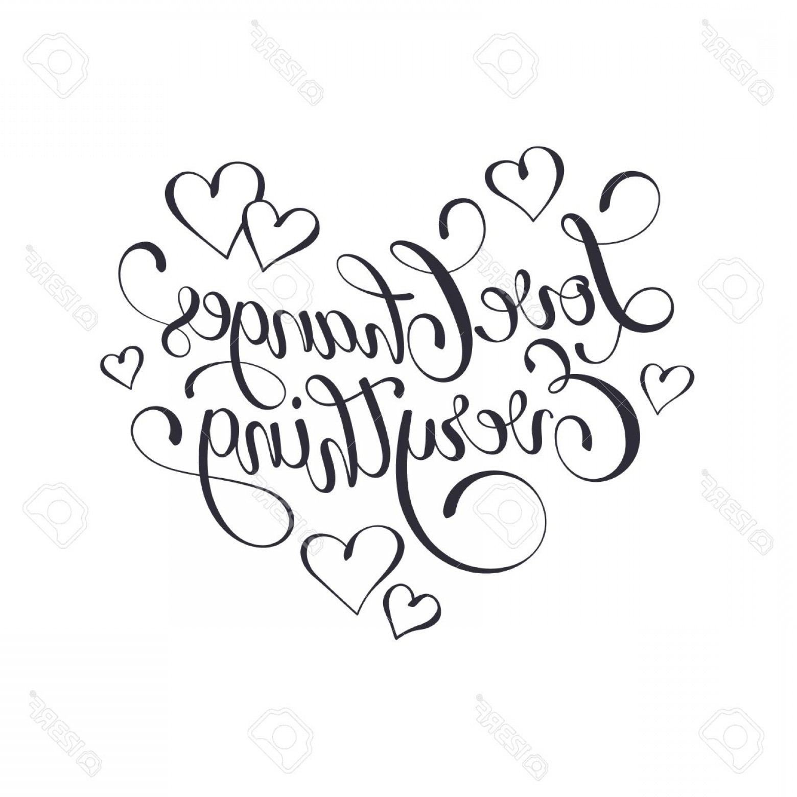 Love Heart Swirl Vector: Photostock Vector Inspiring Lettering Black On White Love Changes Everything Positive Quote With Swirls In Heart Shape