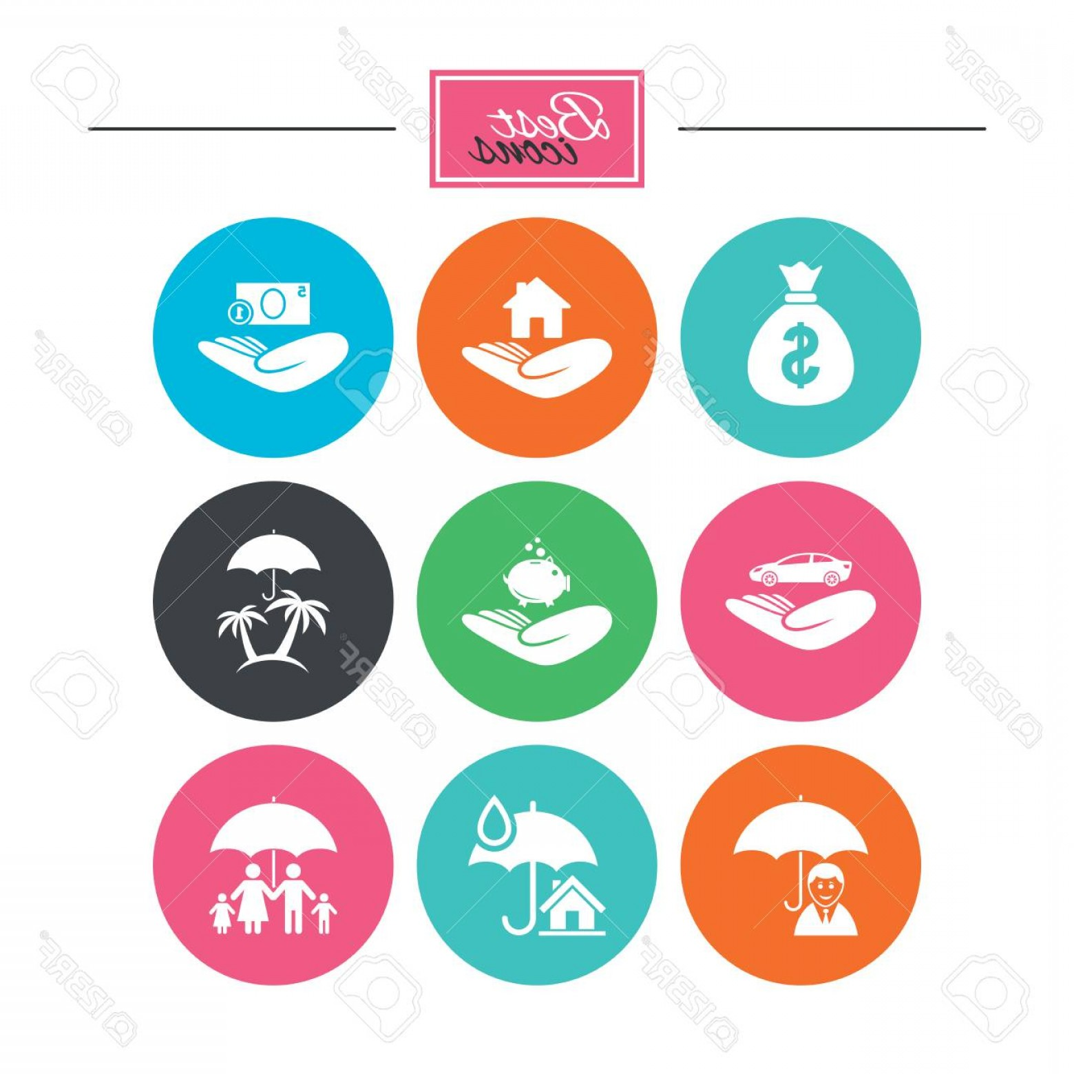 Vector Insurance: Photostock Vector Insurance Icons Life Real Estate And House Signs Money Bag Family And Travel Symbols Colorful Flat B