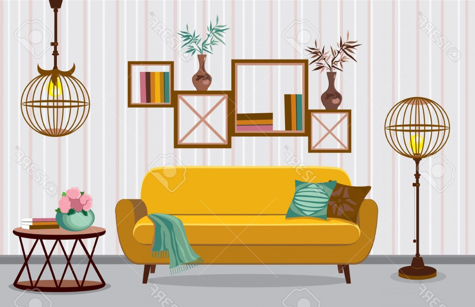 Vector Background For Living Room: Photostock Vector Interior Living Room Vector Illustration In Flat Design With Shadows House Furniture Cartoon Backgro