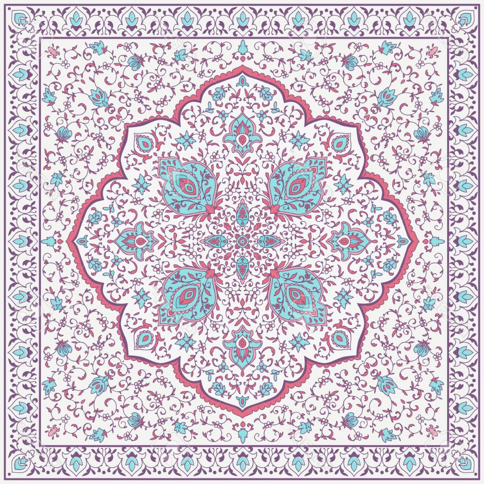 Aqua Victorian Medallions Vectors: Photostock Vector Islamic Or Indian Floral Pattern In Victorian Style Ornamental For Card For Cafe Shop Print Banner W