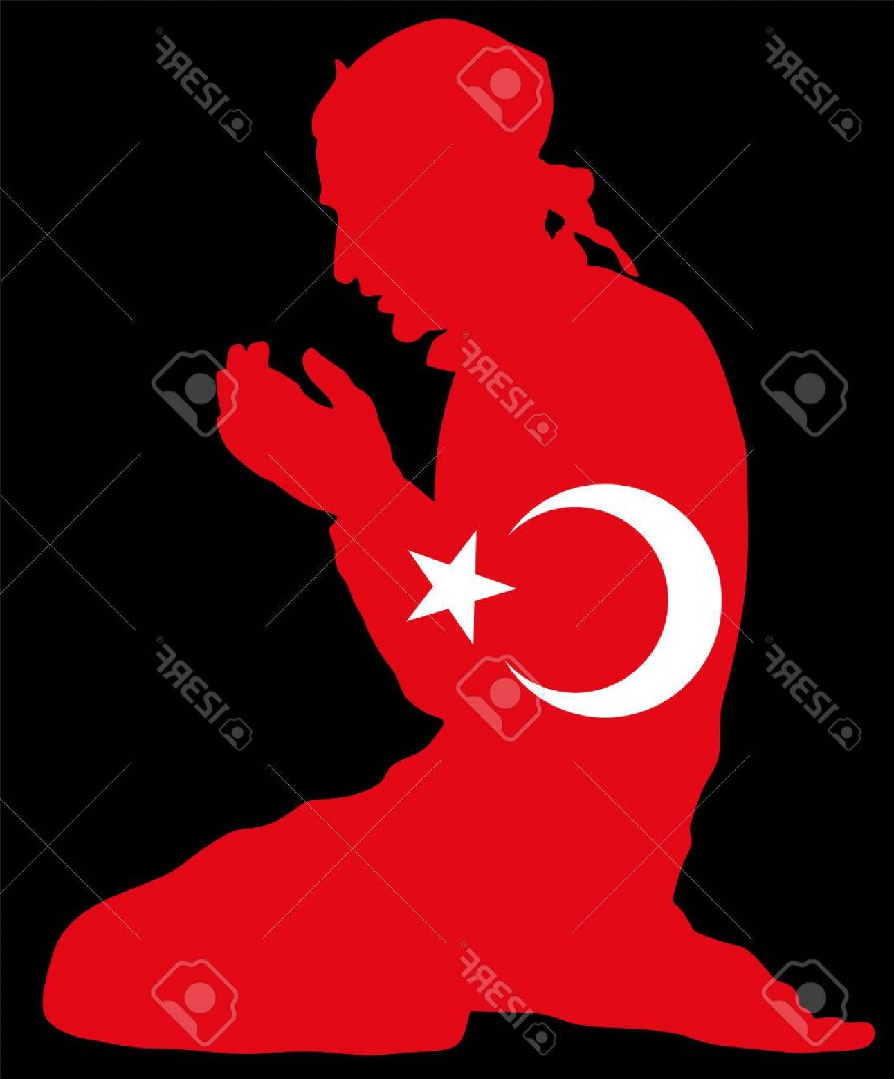 Praying Cowboy Vector: Photostock Vector Islamic Religion Pose Of Muslim Man Praying Vector Silhouette Illustration Isolated On Background Mu