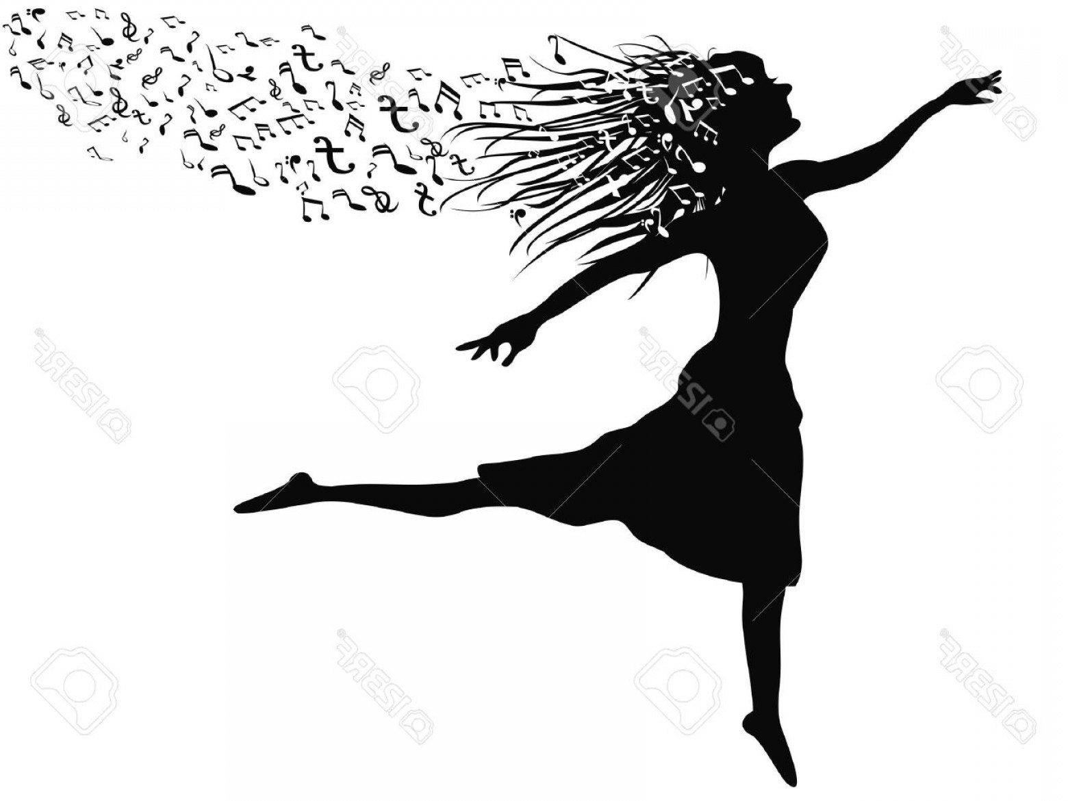 Dancing Musical Notes Vector: Photostock Vector Isolated A Woman S Silhouette Dancing With Music Note From White Background