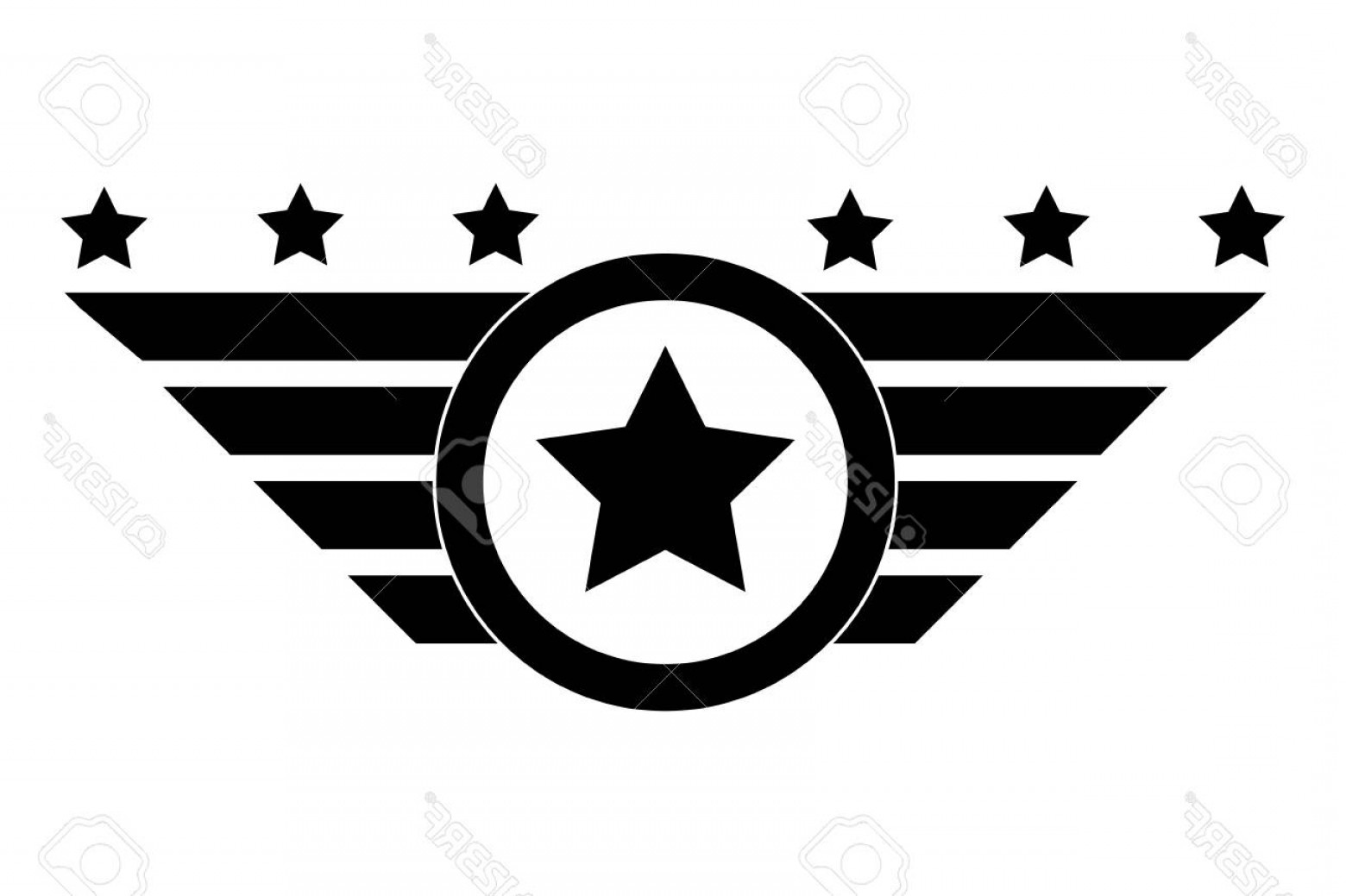 United States Armed Forces Logo Vector: Photostock Vector Isolated Black And White Emblem Concept Of Insignia Army Forces Patriotic And American Vector Illust