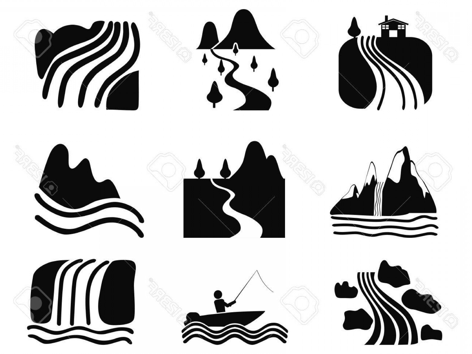 River Silhouette Vector Art: Photostock Vector Isolated Black River Icons Set On White Background