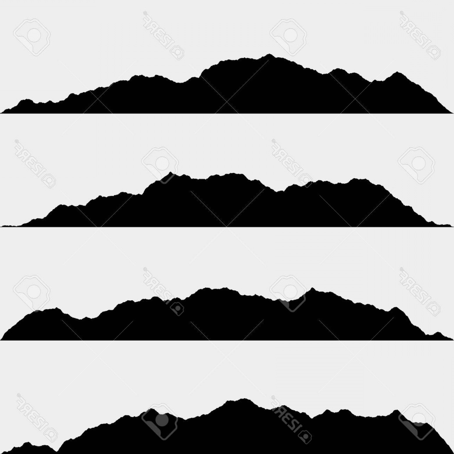 White Mountain Silhouette Vector Free: Photostock Vector Isolated Black Silhouettes Of Mountains On White Vector Illustration