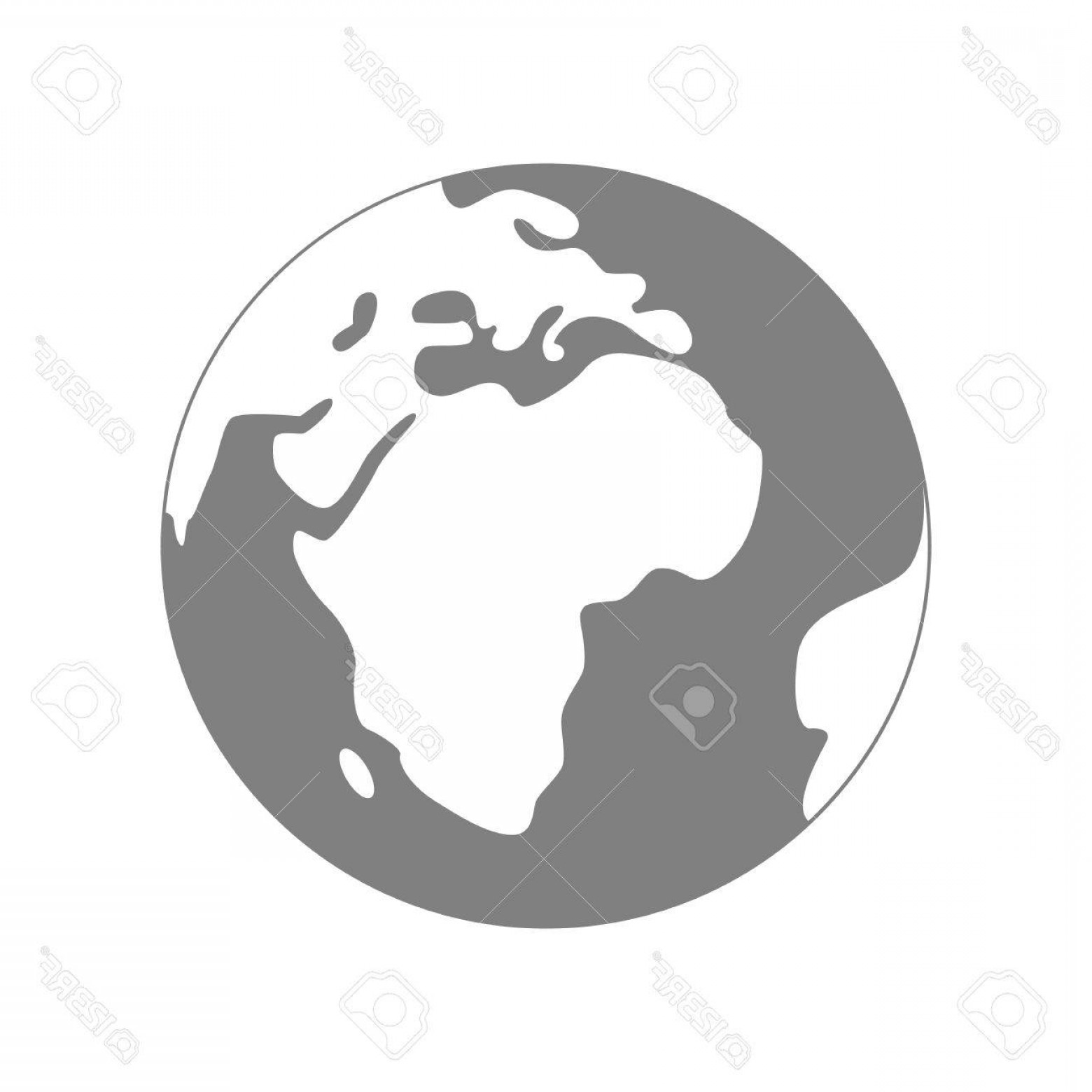 World Icon Vector Simple: Photostock Vector Isolated Planet Earth On White Background Simple Flat World Globe Icon In Grey And White Colors Trav