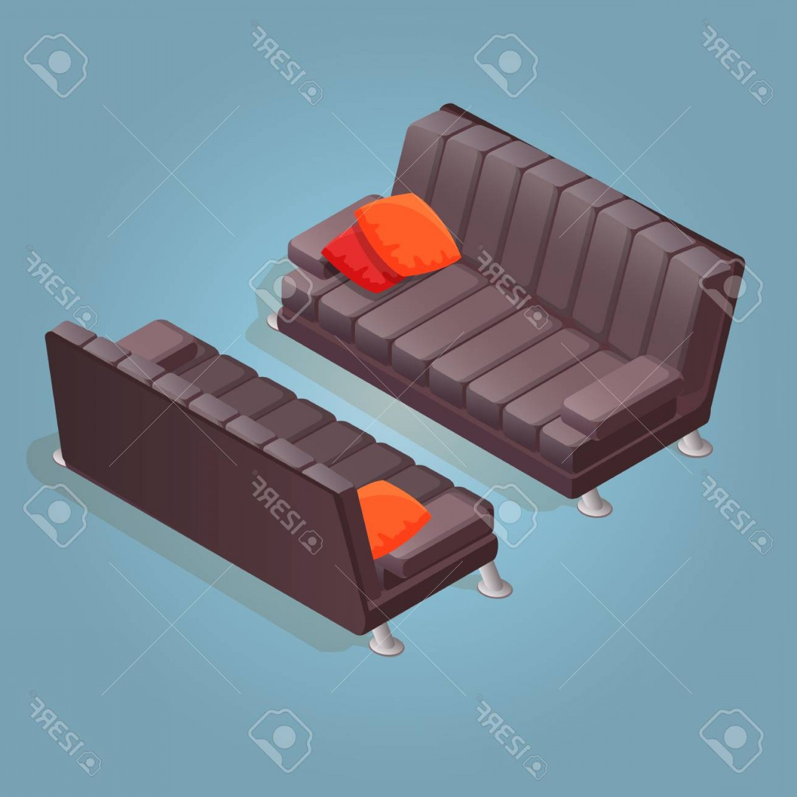 Back Of The Couch Vector: Photostock Vector Isometric Cartoon Sofa Icon Isolated On Blue Couch With Dark Upholstery Front And Back Vector Flat S